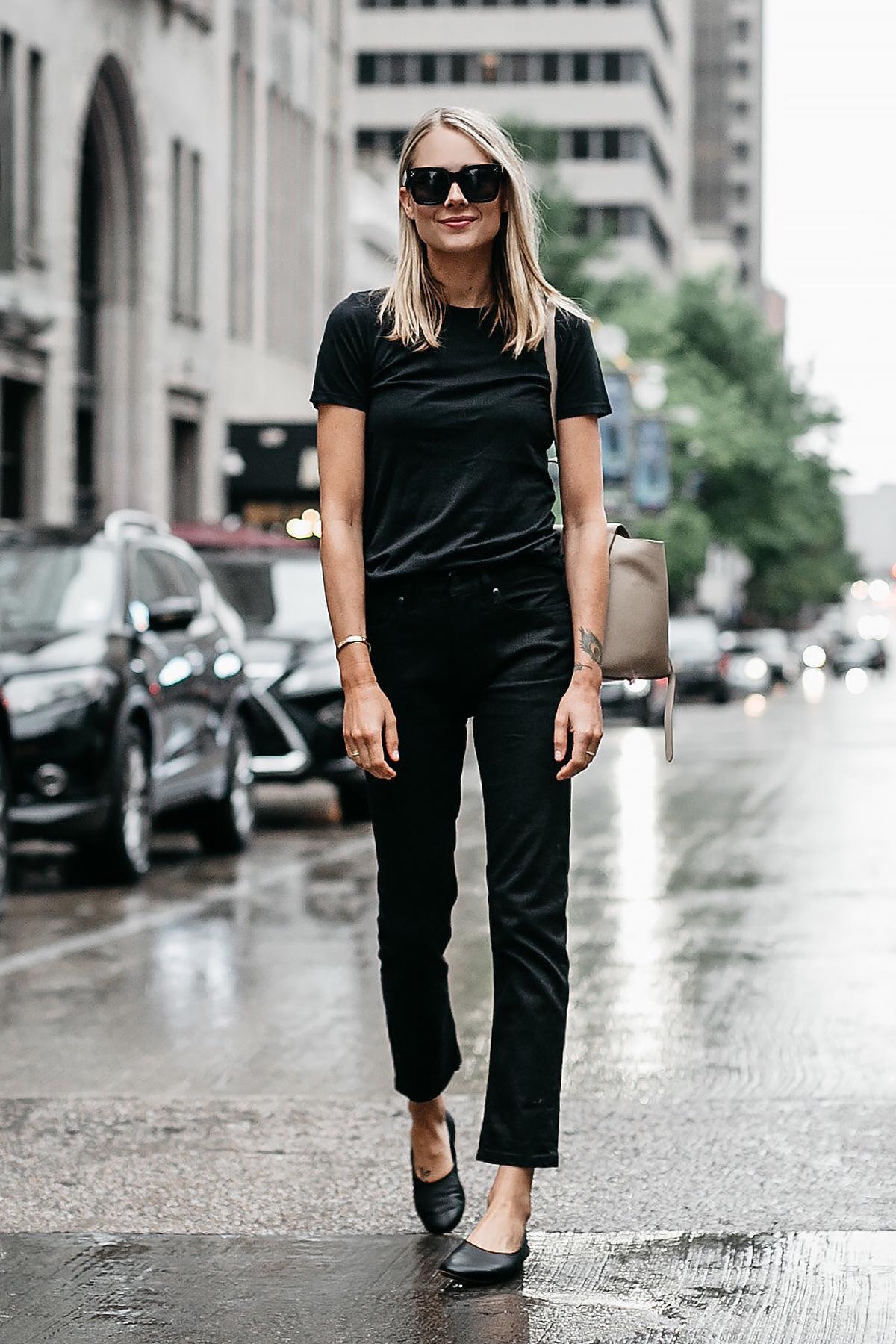 419cd889543 Blonde Woman Wearing Everlane Black Tshirt Everlane Black Boyfriend Jeans Everlane  Black Day Glove Flats Fashion