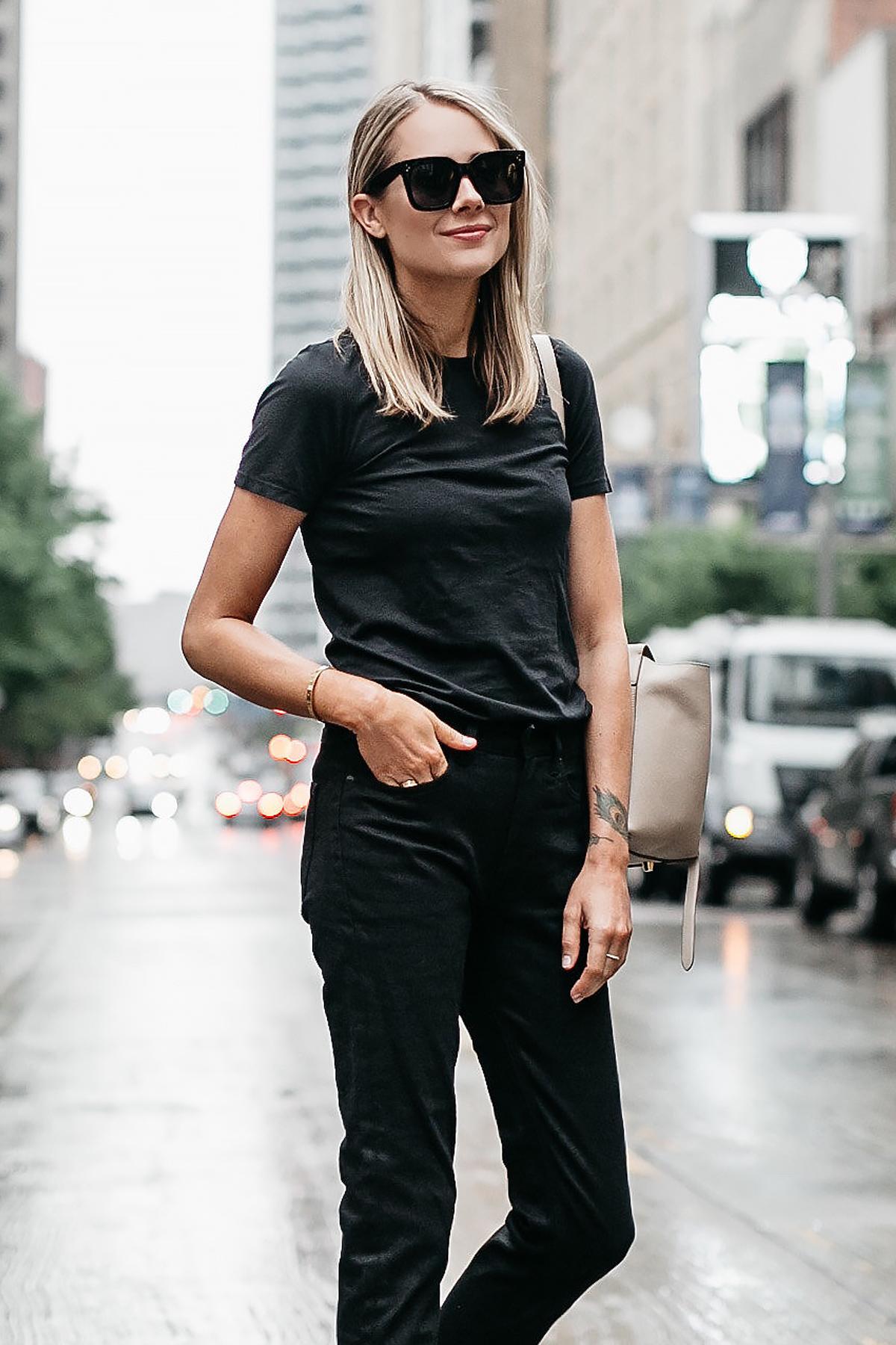 Blonde Woman Wearing Everlane Black Tshirt Everlane Black Boyfriend Jeans Fashion Jackson Dallas Blogger Fashion Blogger Street Style