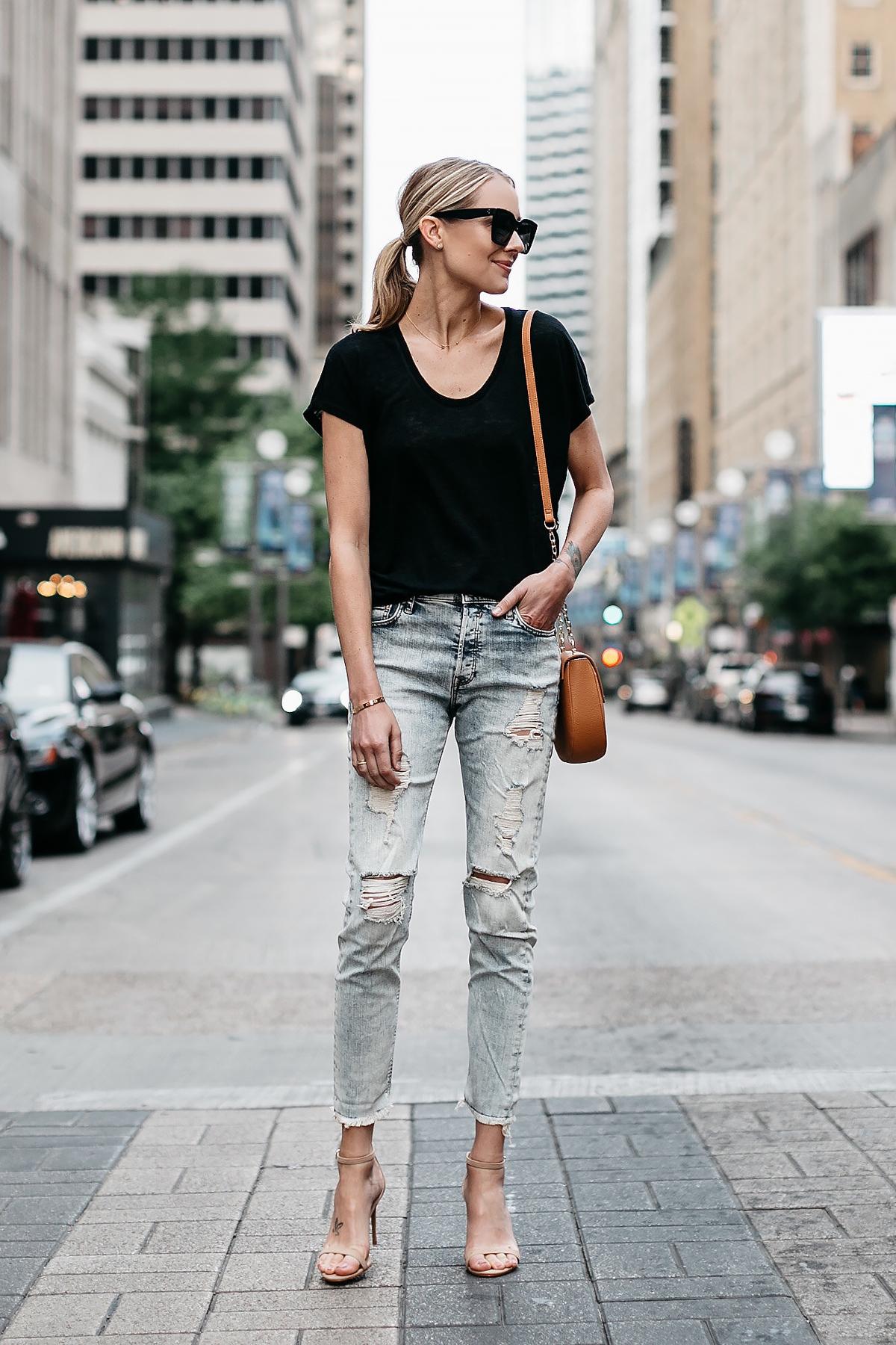 Blonde Woman Wearing Express Black Tshirt Express Ripped Jeans Tan Ankle Strap Heeled Sandals Tan Handbag Fashion Jackson Dallas Blogger Fashion Blogger Street Style