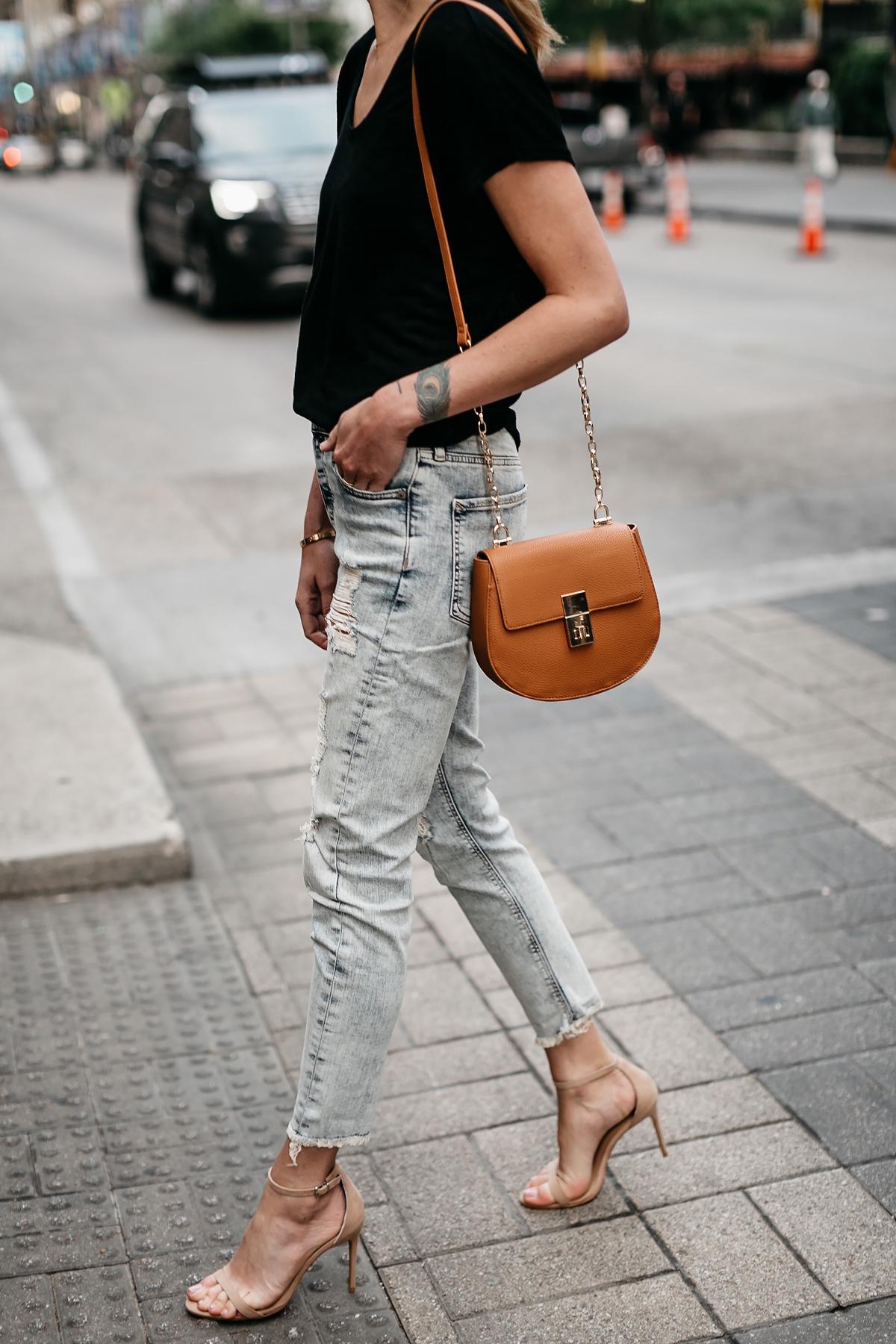 Woman Wearing Express Black Tshirt Express Ripped Jeans Tan Ankle Strap Heeled Sandals Tan Handbag Fashion Jackson Dallas Blogger Fashion Blogger Street Style