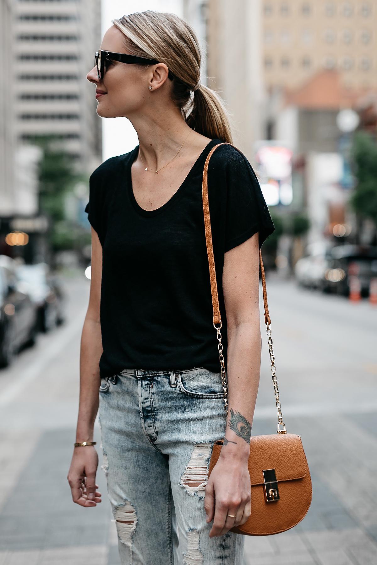 Blonde Woman Wearing Express Black Tshirt Express Ripped Jeans Tan Handbag Fashion Jackson Dallas Blogger Fashion Blogger Street Style