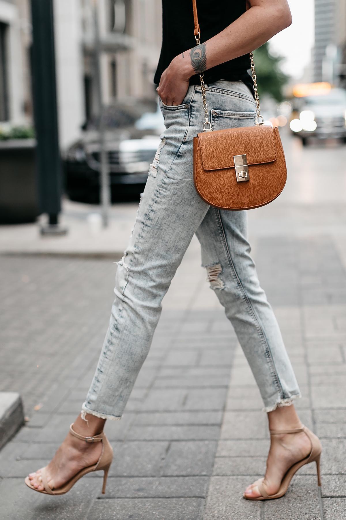 Woman Wearing Express Ripped Jeans Tan Ankle Strap Heeled Sandals Tan Handbag Fashion Jackson Dallas Blogger Fashion Blogger Street Style