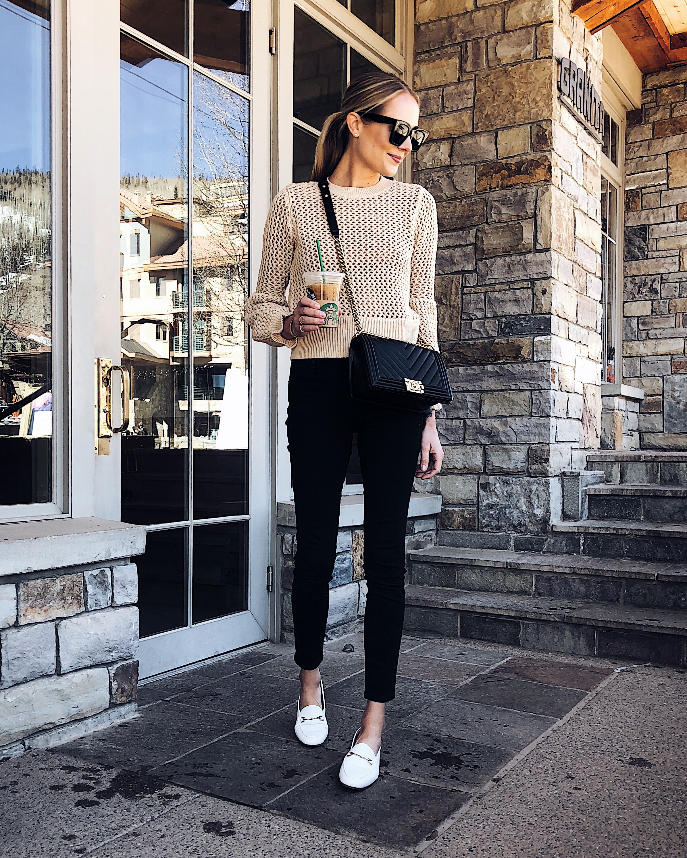 Blonde Woman Wearing Tan Sweater Black Skinny Jeans White Loafers Fashion Jackson Dallas Blogger Fashion Blogger Street Style