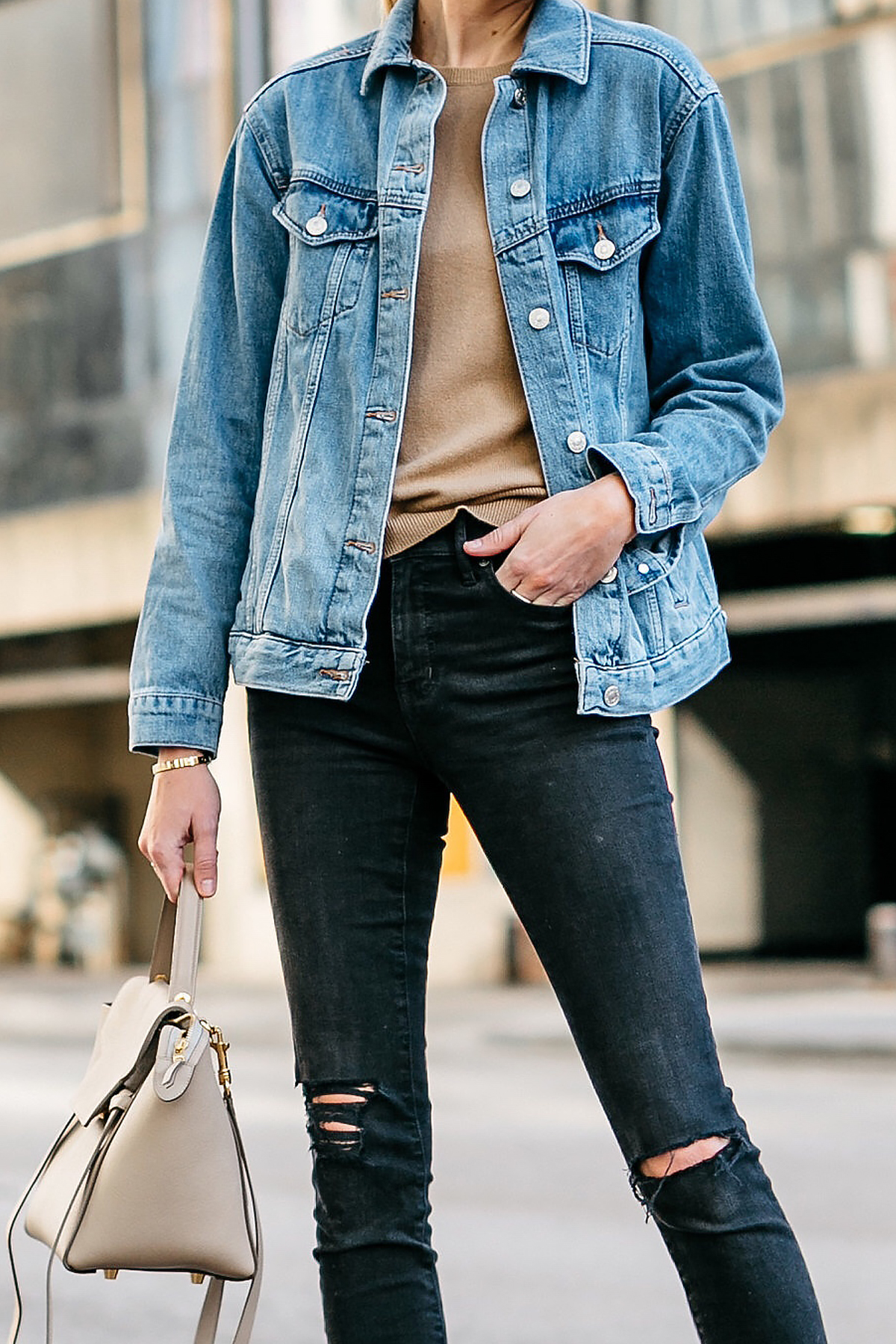 Woman Wearing Topshop Oversized Denim Jacket Tan Sweater Black Ripped Skinny Jeans Celine Mini Belt Bag Fashion Jackson Dallas Blogger Fashion Blogger Street Style