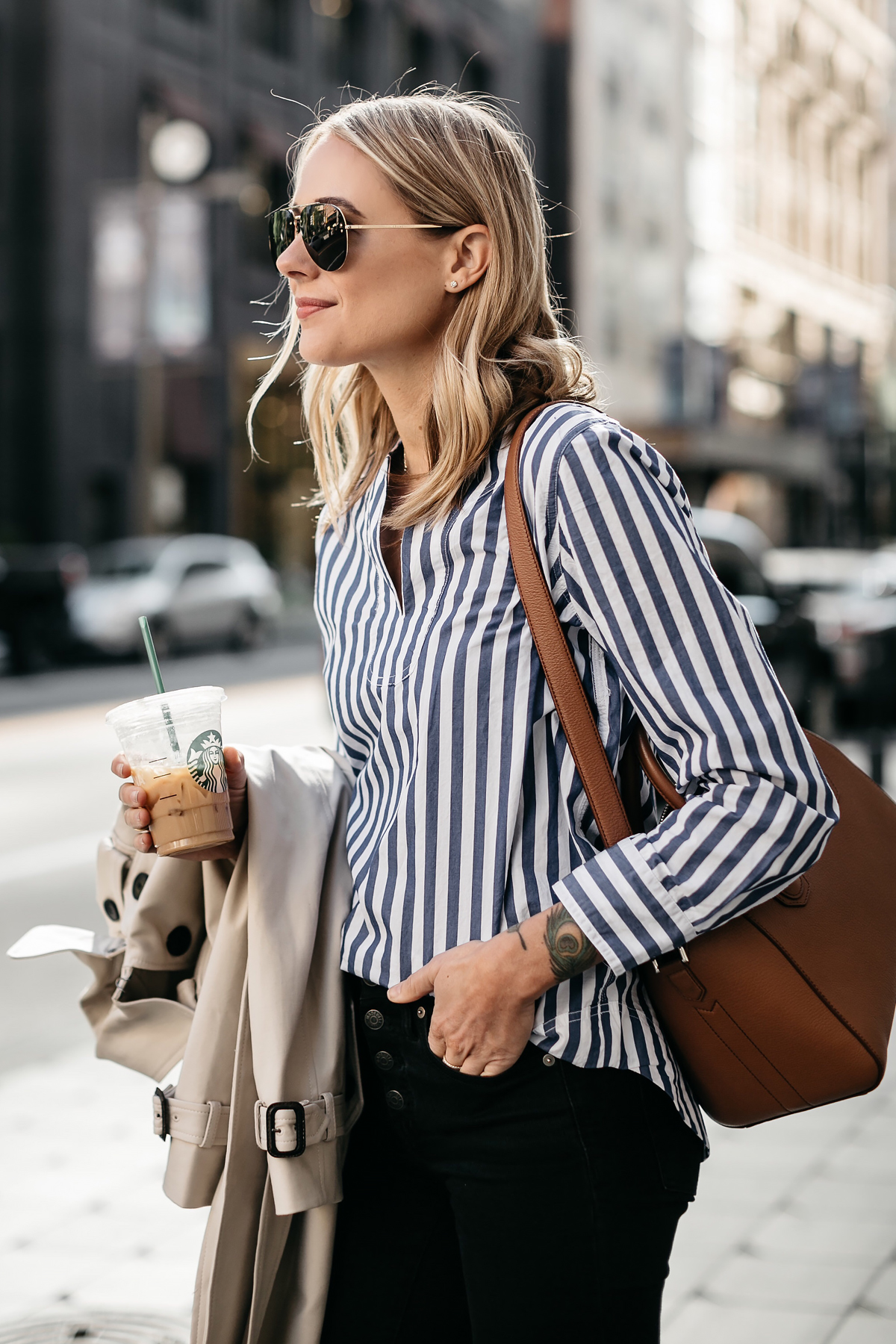 Blonde Woman Wearing Club Monaco Trench Coat Jcrew Blue White Stripe Top Givenchy Antigona Small Cognac Satchel Celine Aviator Sunglasses Fashion Jackson Dallas Blogger Fashion Blogger Street Style