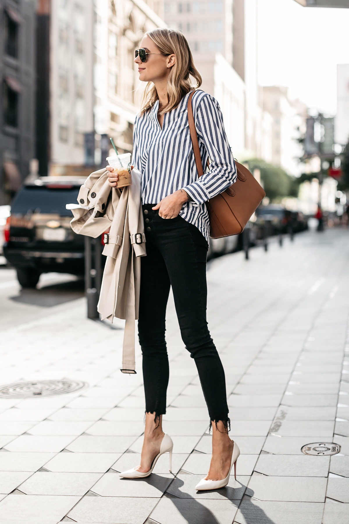 Blonde Woman Wearing Club Monaco Trench Coat Jcrew Blue White Stripe Top Madewell Black Ripped Skinny Jeans Christian Louboutin White Pumps Givenchy Antigona Small Cognac Satchel Fashion Jackson Dallas Blogger Fashion Blogger Street Style