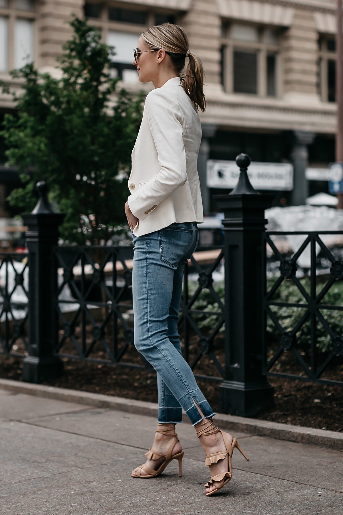 Blonde Woman Wearing Ann Taylor White Blazer Raw Hem Skinny Jeans Tan Ruffle Lace Up Sandals Fashion Jackson Dallas Blogger Fashion Blogger Street Style