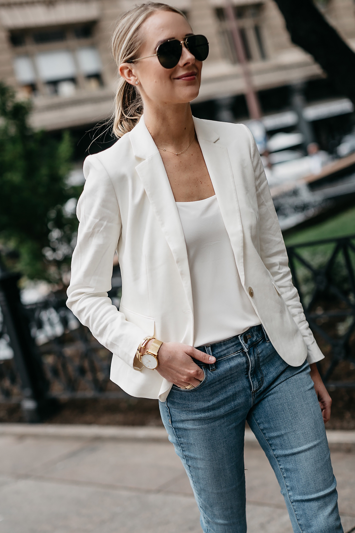 Blonde Woman Wearing Ann Taylor White Blazer White Cami Denim Jeans Aviator Sunglasses Fashion Jackson Dallas Blogger Fashion Blogger Street Style