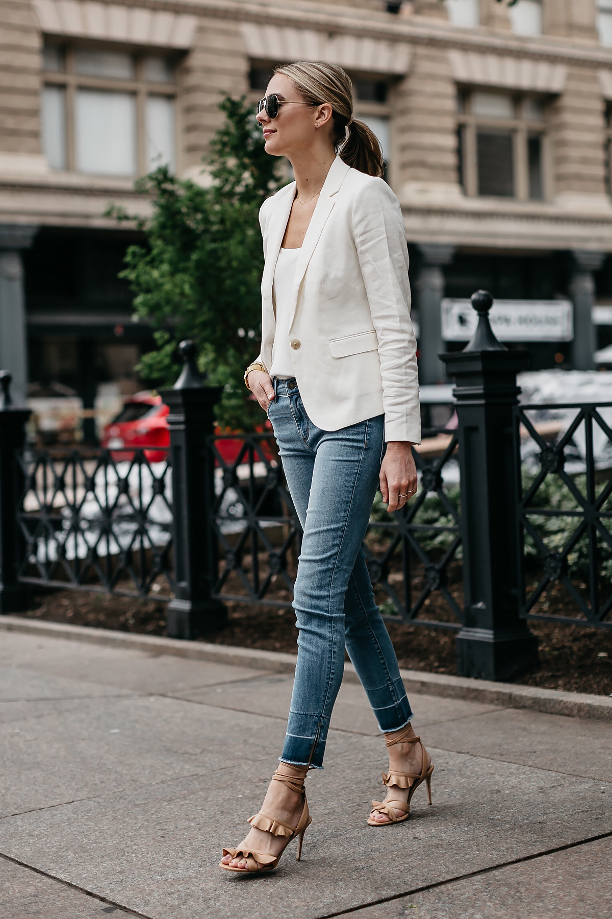 Blonde Woman Wearing Ann Taylor White Blazer White Cami Denim Jeans Tan Ruffle Lace Up Sandals Aviator Sunglasses Fashion Jackson Dallas Blogger Fashion Blogger Street Style