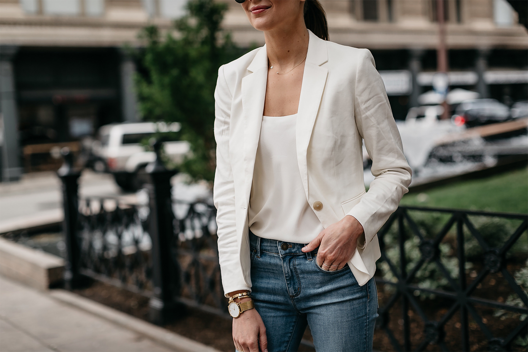 Woman Wearing Ann Taylor White Blazer White Cami Jeans Fashion Jackson Dallas Blogger Fashion Blogger Street Style