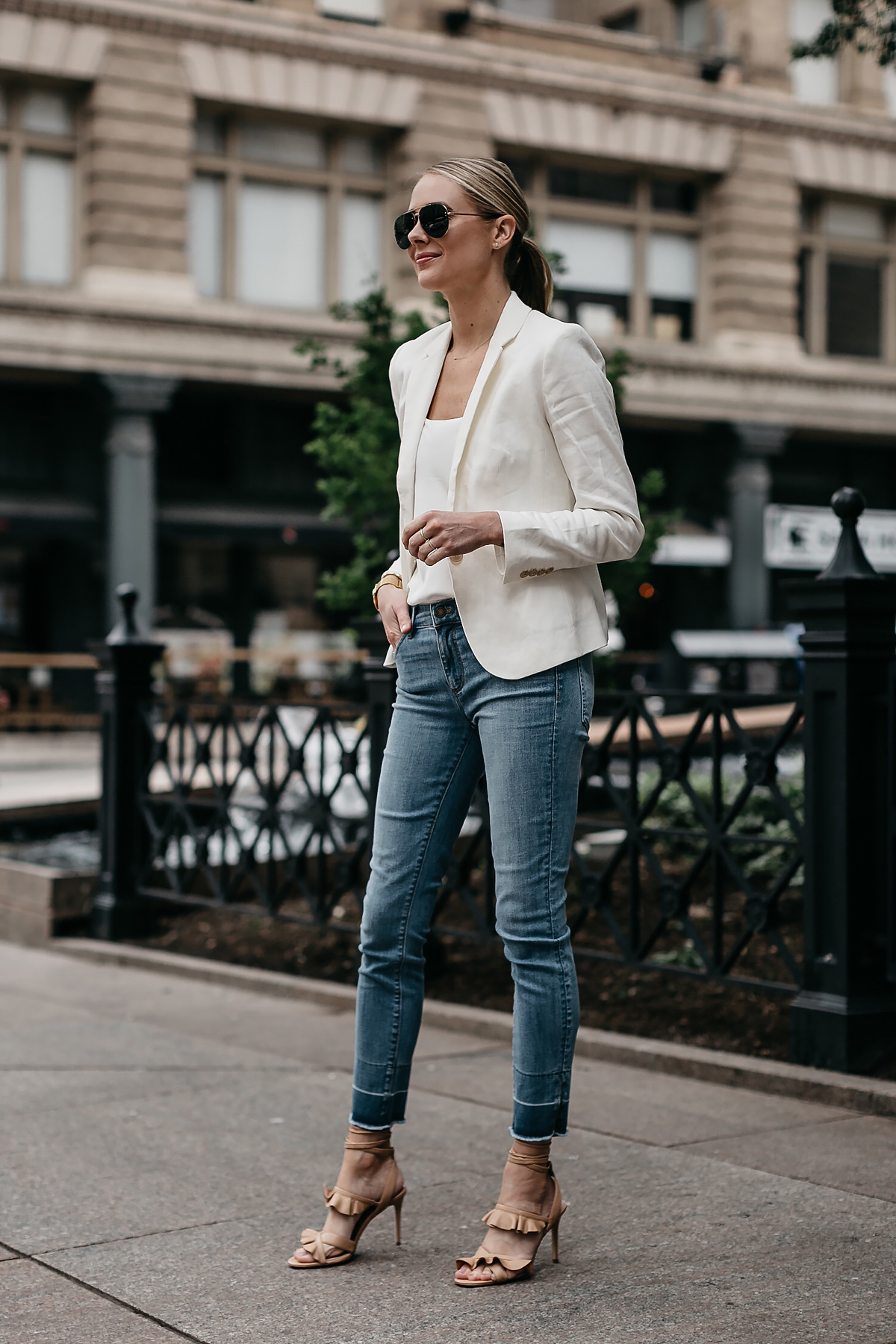 Blonde Woman Wearing Ann Taylor White Blazer White Cami Raw Hem Skinny Jeans Tan Ruffle Lace Up Sandals Aviator Sunglasses Fashion Jackson Dallas Blogger Fashion Blogger Street Style