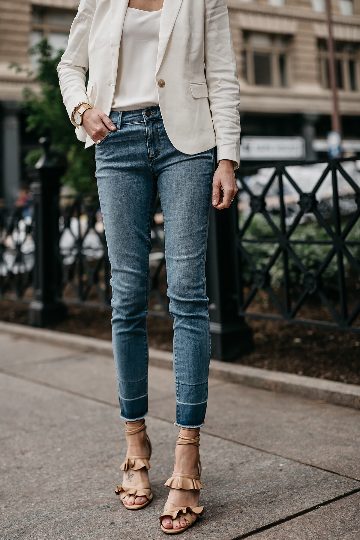 Woman Wearing Ann Taylor White Blazer White Cami Raw Hem Skinny Jeans Tan Ruffle Lace Up Sandals Fashion Jackson Dallas Blogger Fashion Blogger Street Style