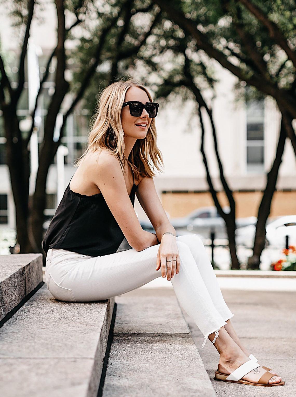 Blonde Woman Wearing Black Lace Cami White Ripped Skinny Jeans Tan Sandals Fashion Jackson Dallas Blogger Fashion Blogger Street Style