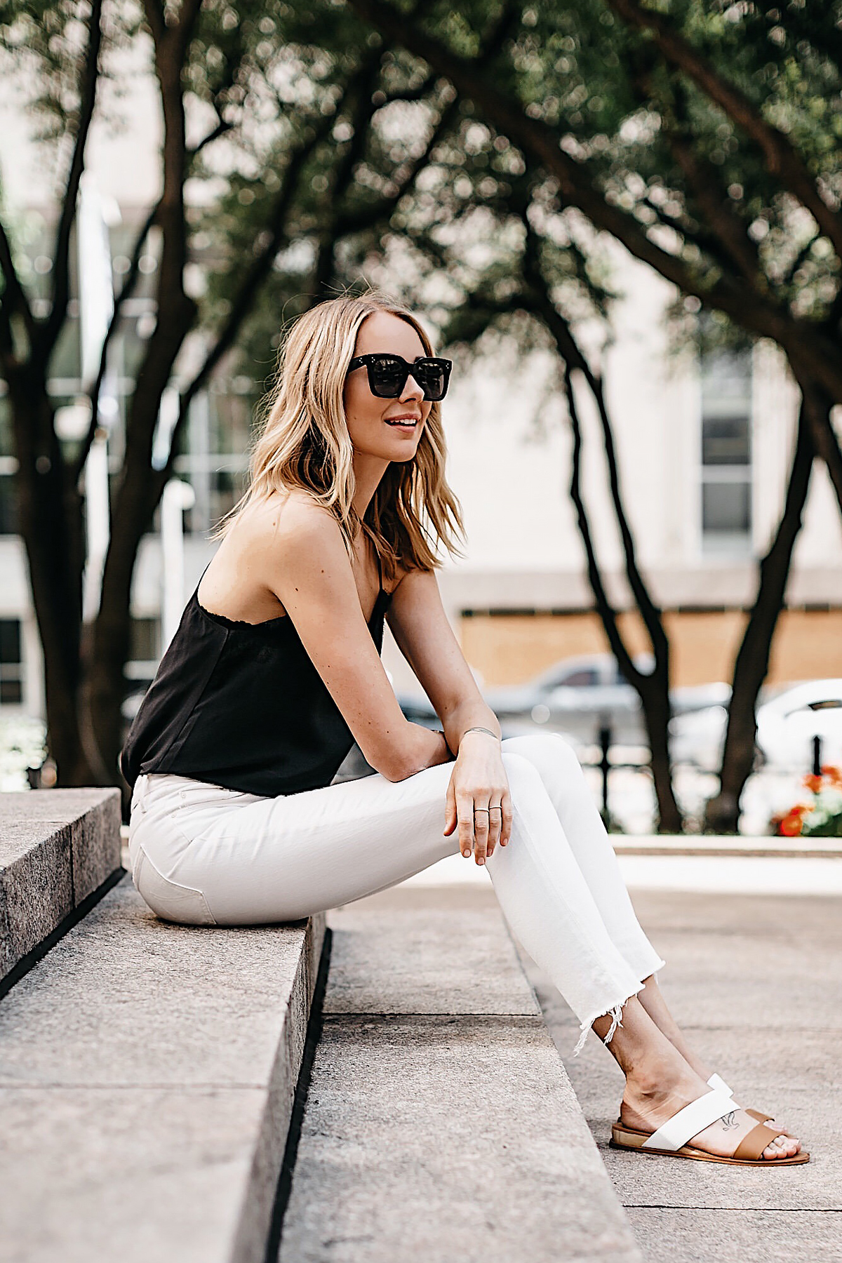Blonde Woman Wearing Black Lace Cami White Ripped Skinny Jeans Tan Sandals Fashion Jackson Dallas Blogger Fashion Blogger Street Style