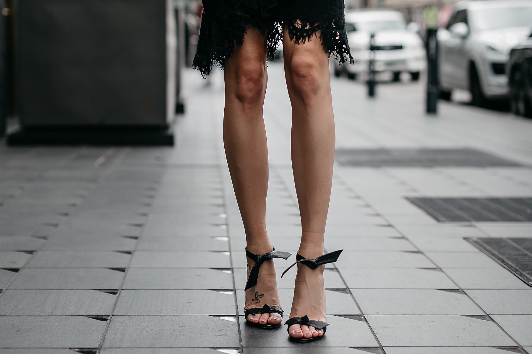 Woman Wearing Black Lace Dress Alexandre Birman Black Clarita Ankle Tie Sandal Fashion Jackson Dallas Blogger Fashion Blogger Street Style