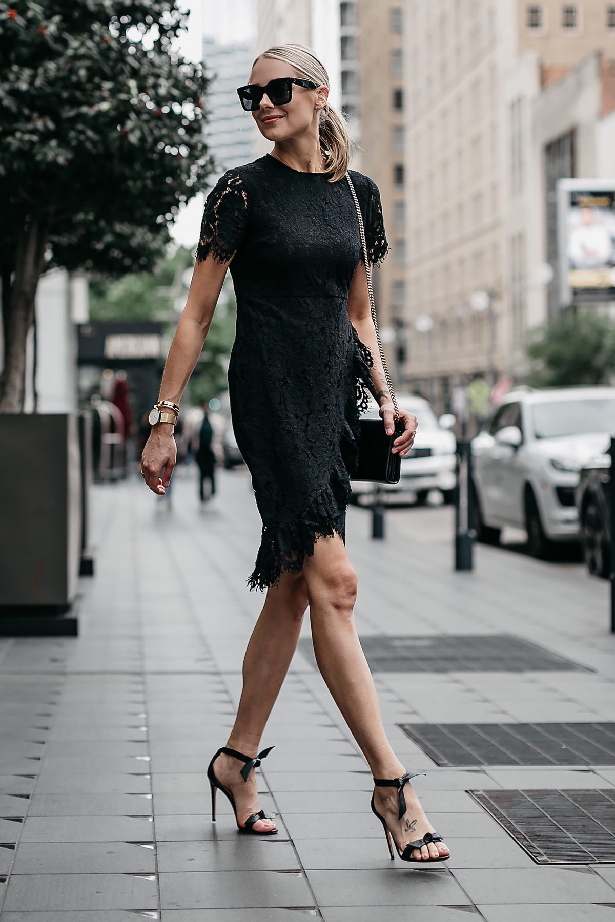 Blonde Woman Wearing Black Lace Dress Alexandre Birman Black Tie Bow Heeled Sandals Fashion Jackson Dallas Blogger Fashion Blogger Street Style