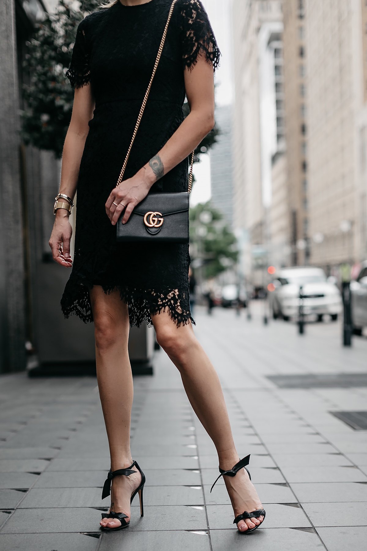 Woman Wearing Black Lace Dress Alexandre Birman Black Tie Bow Heeled Sandals Fashion Jackson Dallas Blogger Fashion Blogger Street Style