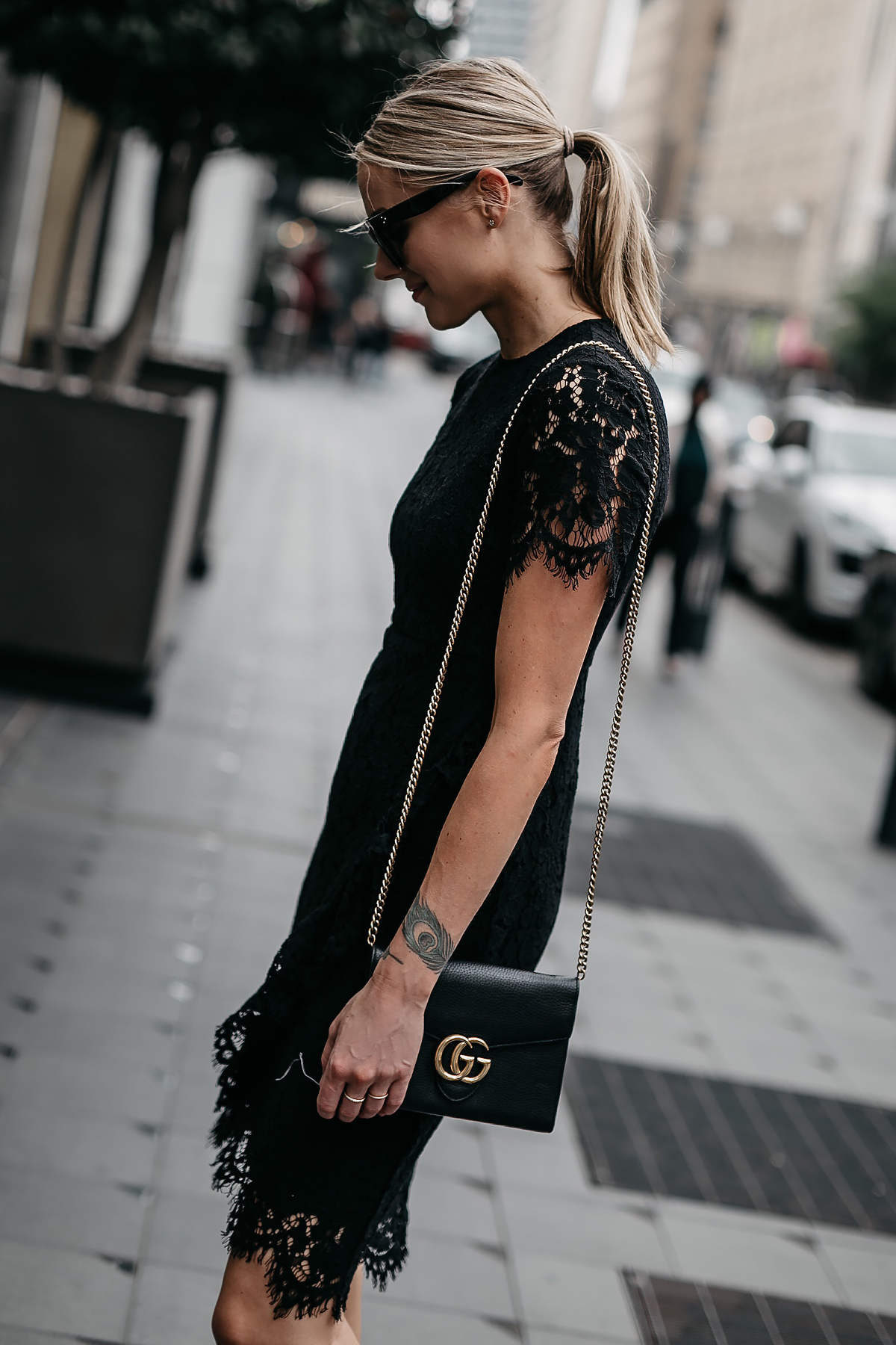 Blonde Woman Wearing Black Lace Dress Black Gucci Marmont Handbag Fashion Jackson Dallas Blogger Fashion Blogger Street Style