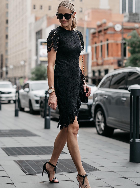 Blonde Woman Wearing Black Lace Dress Black Tie Bow Heeled Sandals Fashion Jackson Dallas Blogger Fashion Blogger Street Style