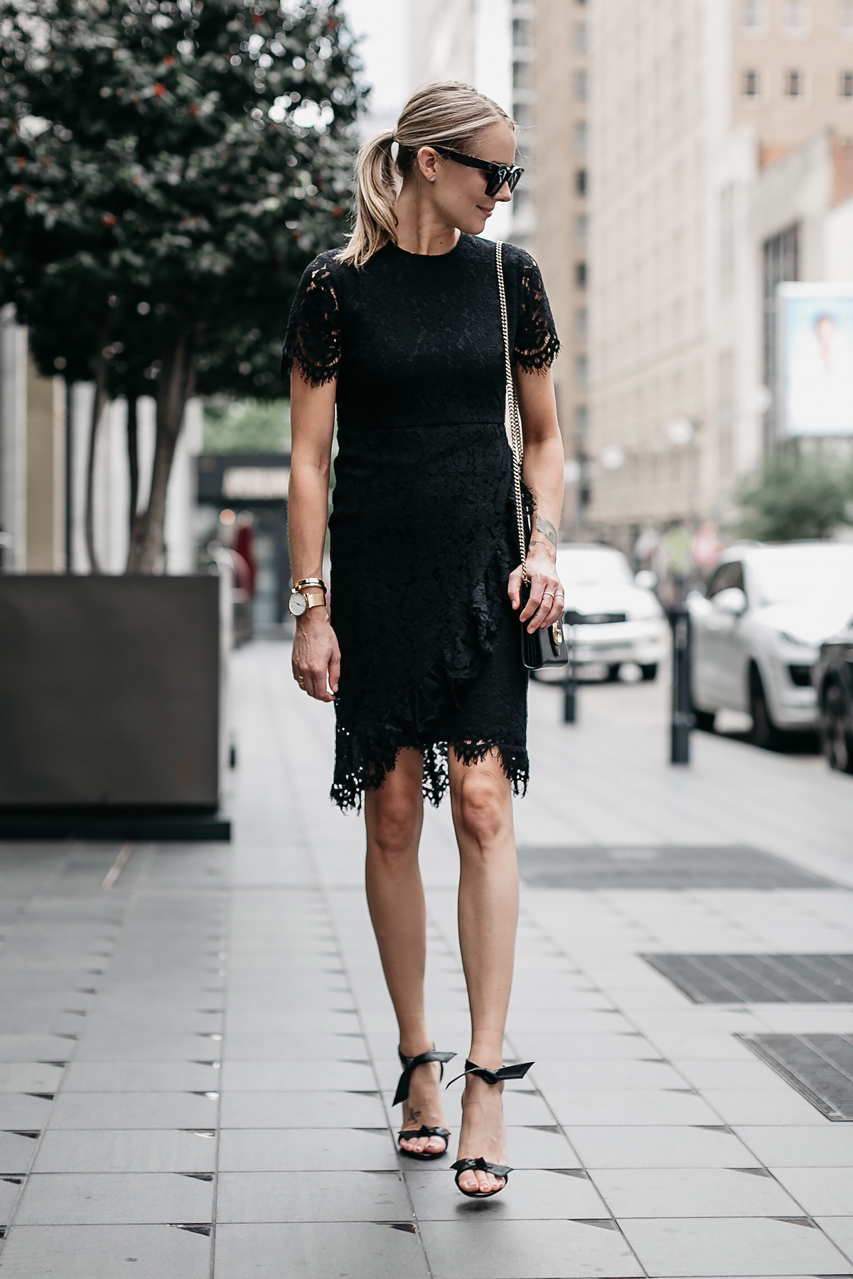 Blonde Woman Wearing Black Lace Dress Black Tie Bow Heeled Sandals Black Gucci Marmont Handbag Fashion Jackson Dallas Blogger Fashion Blogger Street Style