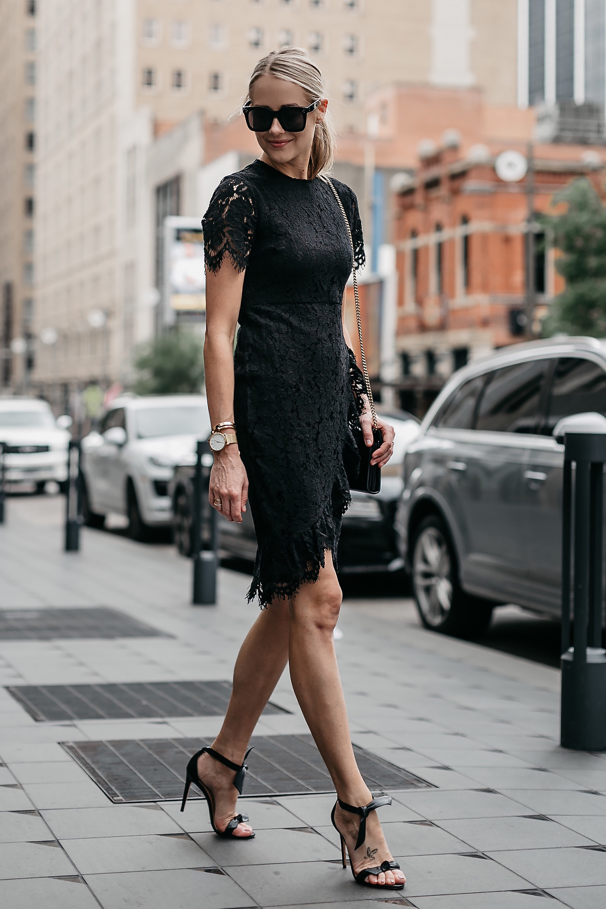Blonde Woman Wearing Black Lace Dress Black Tie Bow Heeled Sandals Fashion Jackson Dallas Blogger Fashion Blogger Street Style