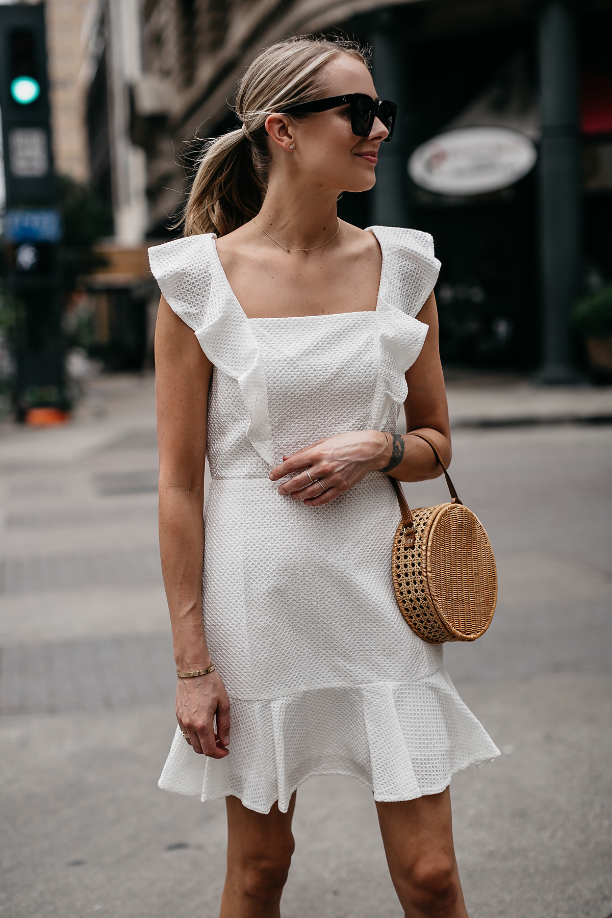 Blonde Woman Wearing Bloomingdales White Eyelet Dress Circle Straw Handbag Fashion Jackson Dallas Blogger Fashion Blogger