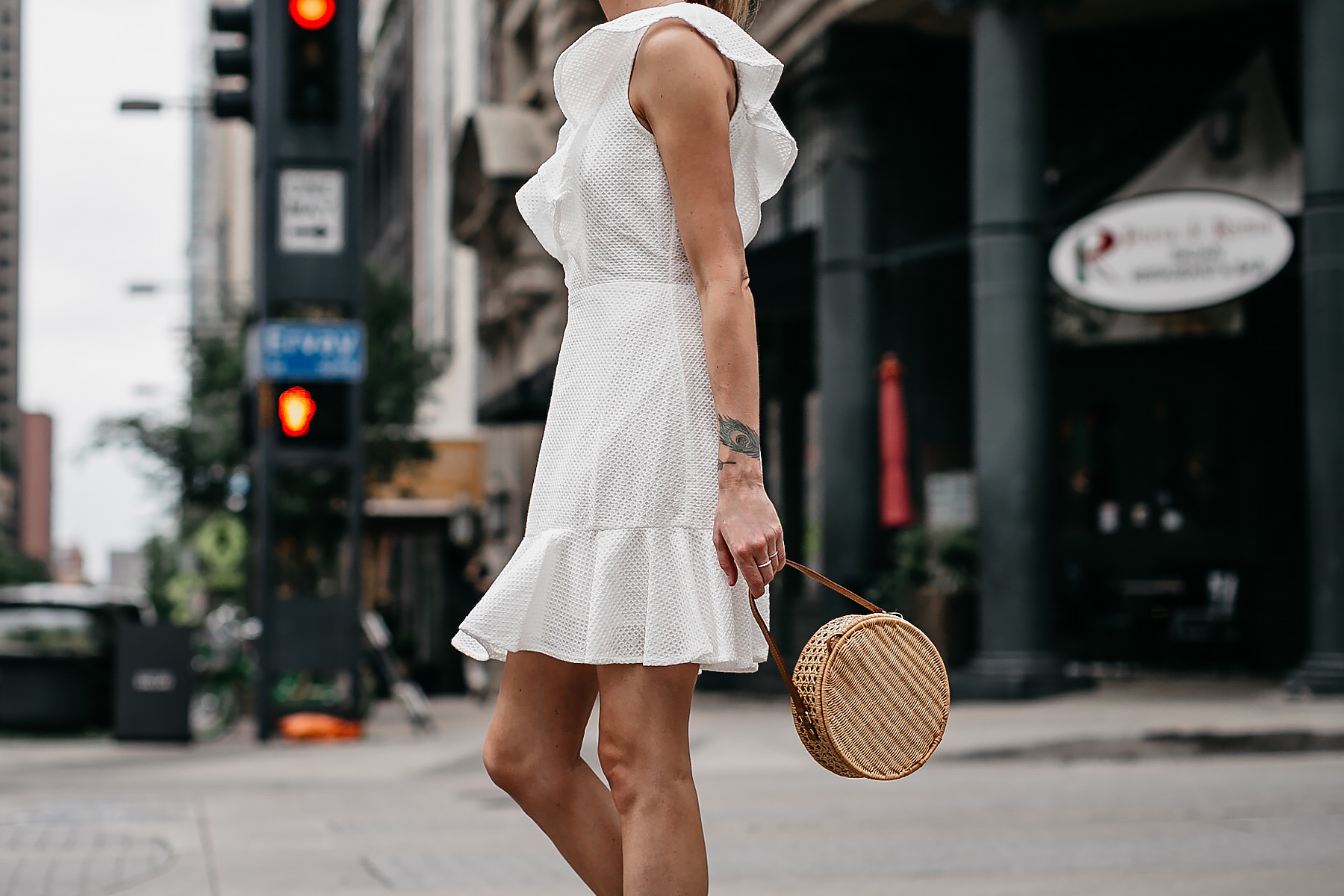 Woman Wearing Bloomingdales White Eyelet Ruffle Dress Circle Basket Handbag Fashion Jackson Dallas Blogger Fashion Blogger Street Style