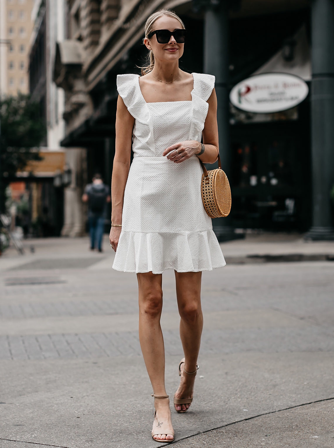 Fashion Jackson Bloomingdales White Eyelet Ruffle Dress Circle Straw Handbag Tan Ankle Strap Sandals Fashion Jackson Dallas Blogger Fashion blogger Street Style