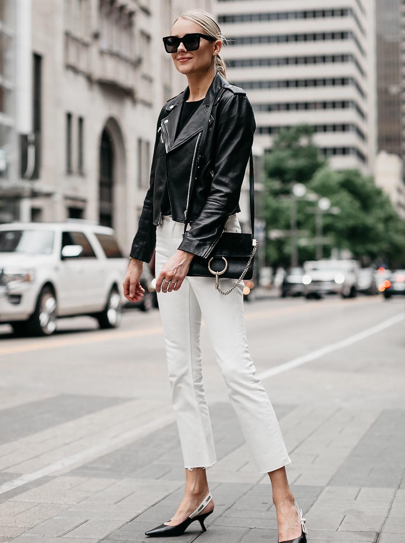 ff45c757a47d Blonde Woman Wearing Club Monaco Black Leather Jacket Everlane White Crop  Jeans Chloe Faye Black Handbag