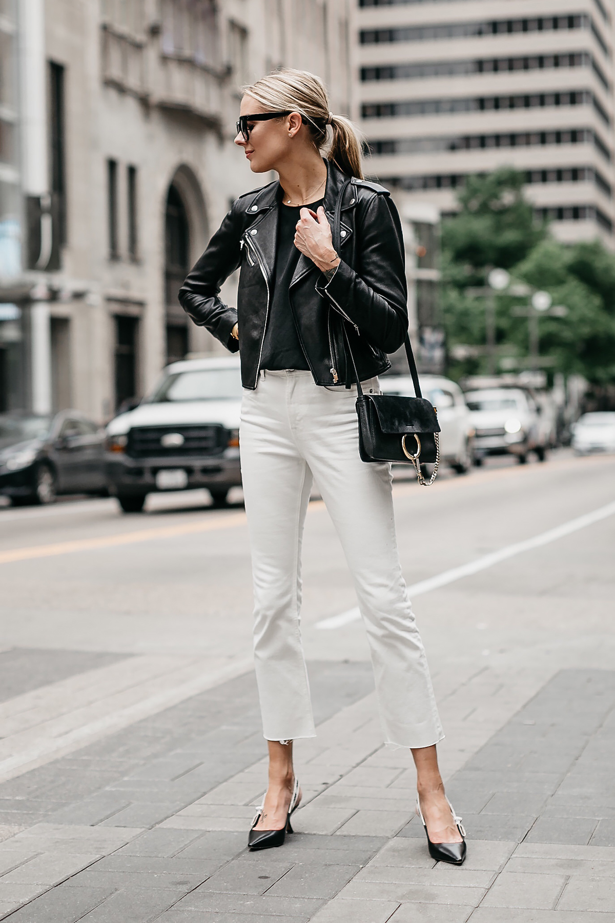 Blonde Woman Wearing Club Monaco Black Leather Jacket Everlane White Crop Jeans Chloe Faye Black Handbag Dior Black Slingbacks Fashion Jackson Dallas Blogger Fashion Blogger Street Style