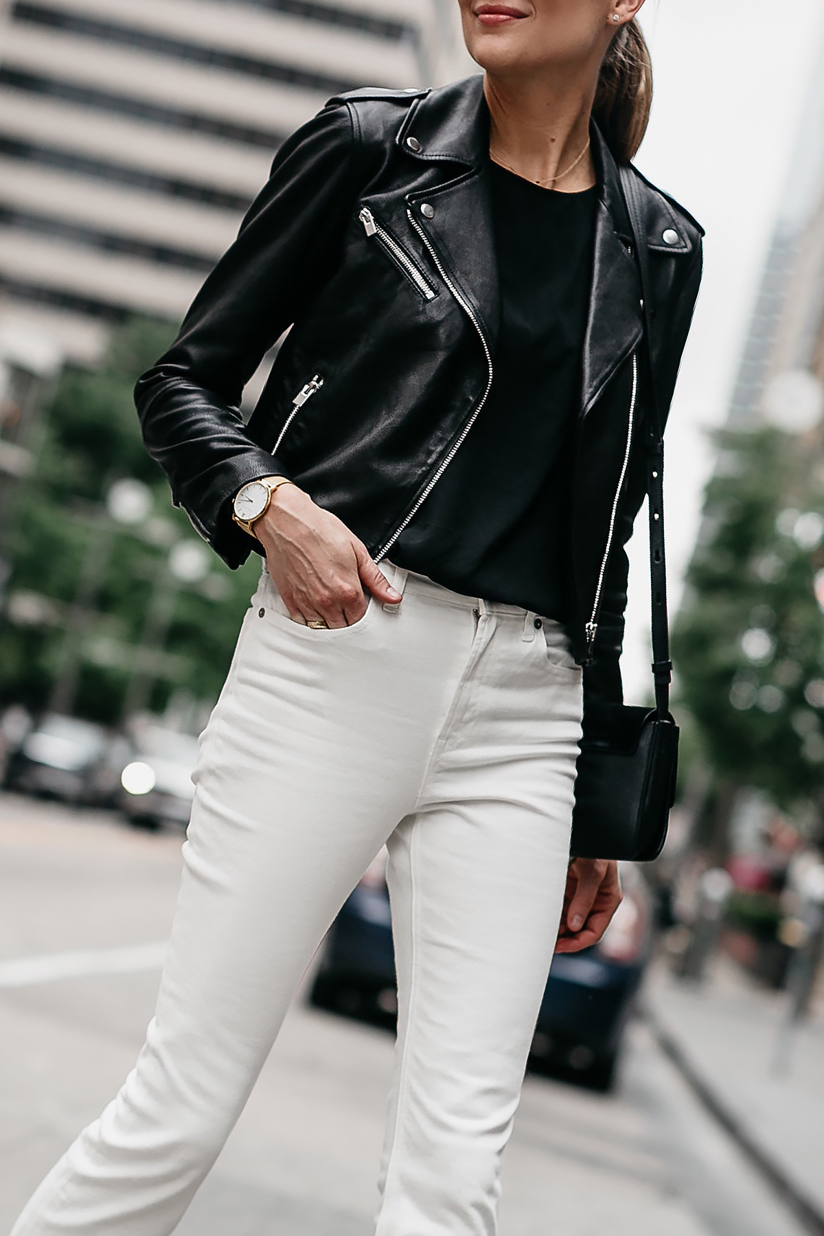 Woman Wearing Club Monaco Black Leather Jacket White Denim Fashion Jackson Dallas Blogger Fashion Blogger Street Style