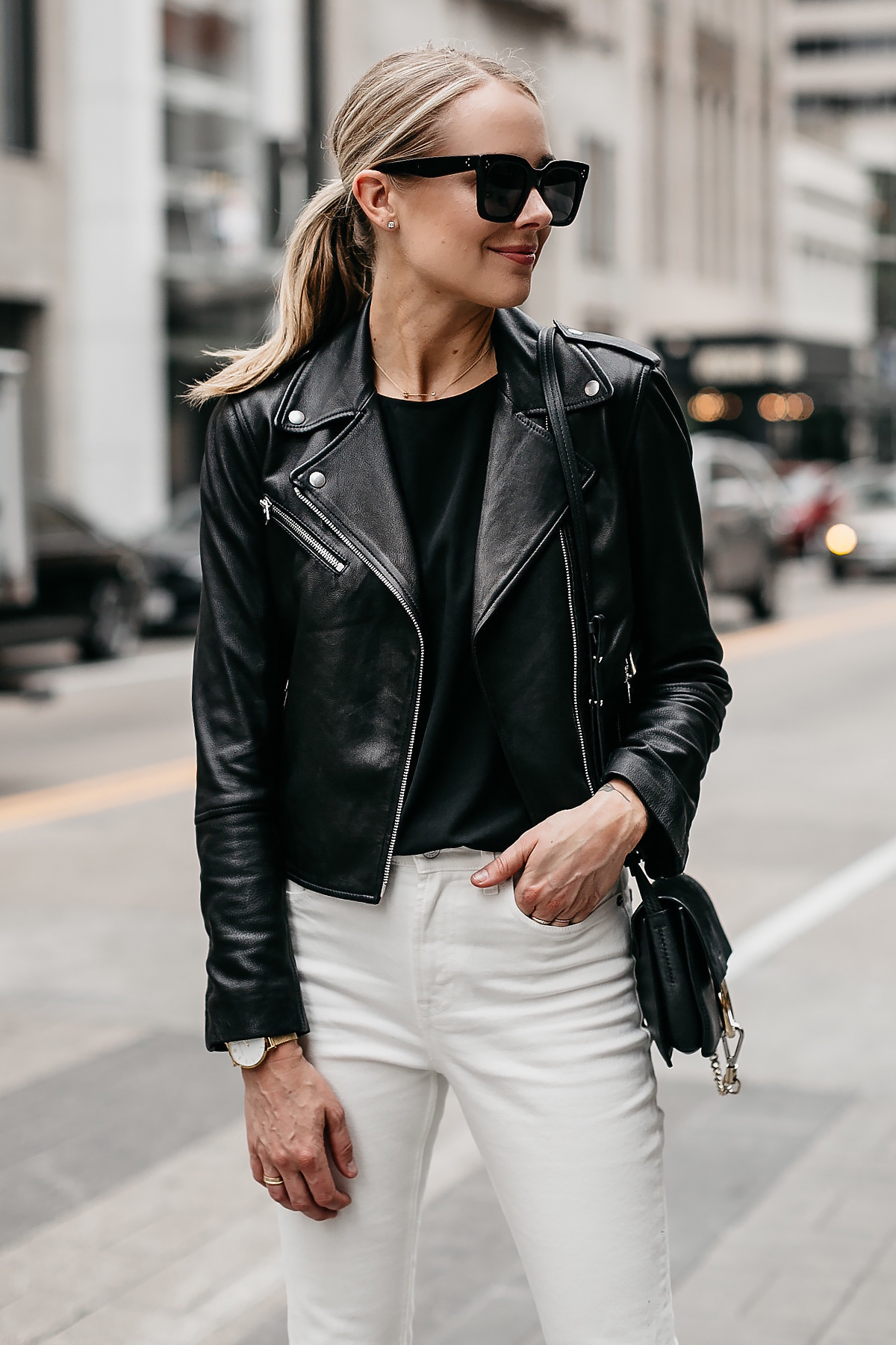 Blonde Woman Wearing Club Monaco Black Leather Jacket White Jeans Black Celine Sunglasses Fashion Jackson Dallas Blogger Fashion Blogger Street Style