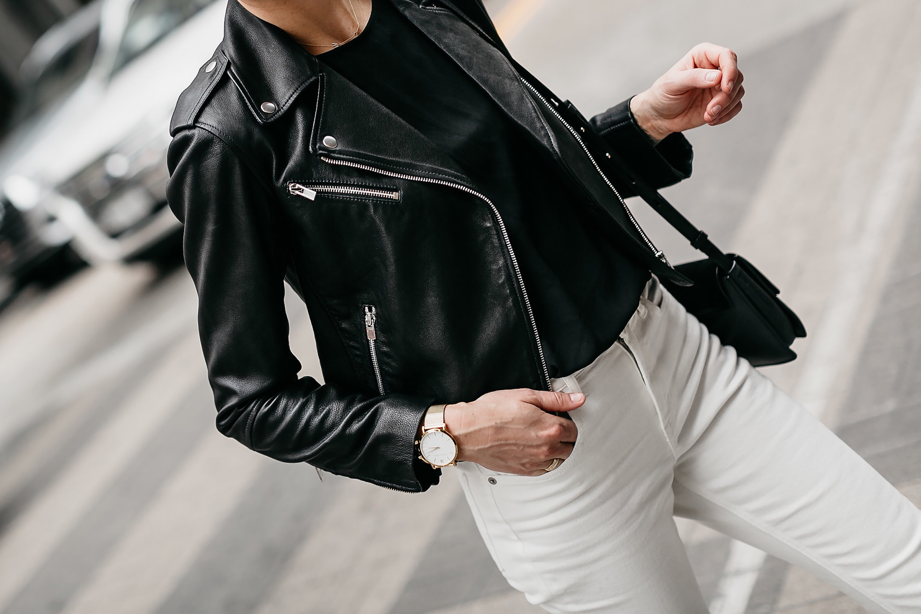 Woman Wearing Club Monaco Black Leather Jacket White Jeans Fashion Jackson Dallas Blogger Fashion Blogger Street Style