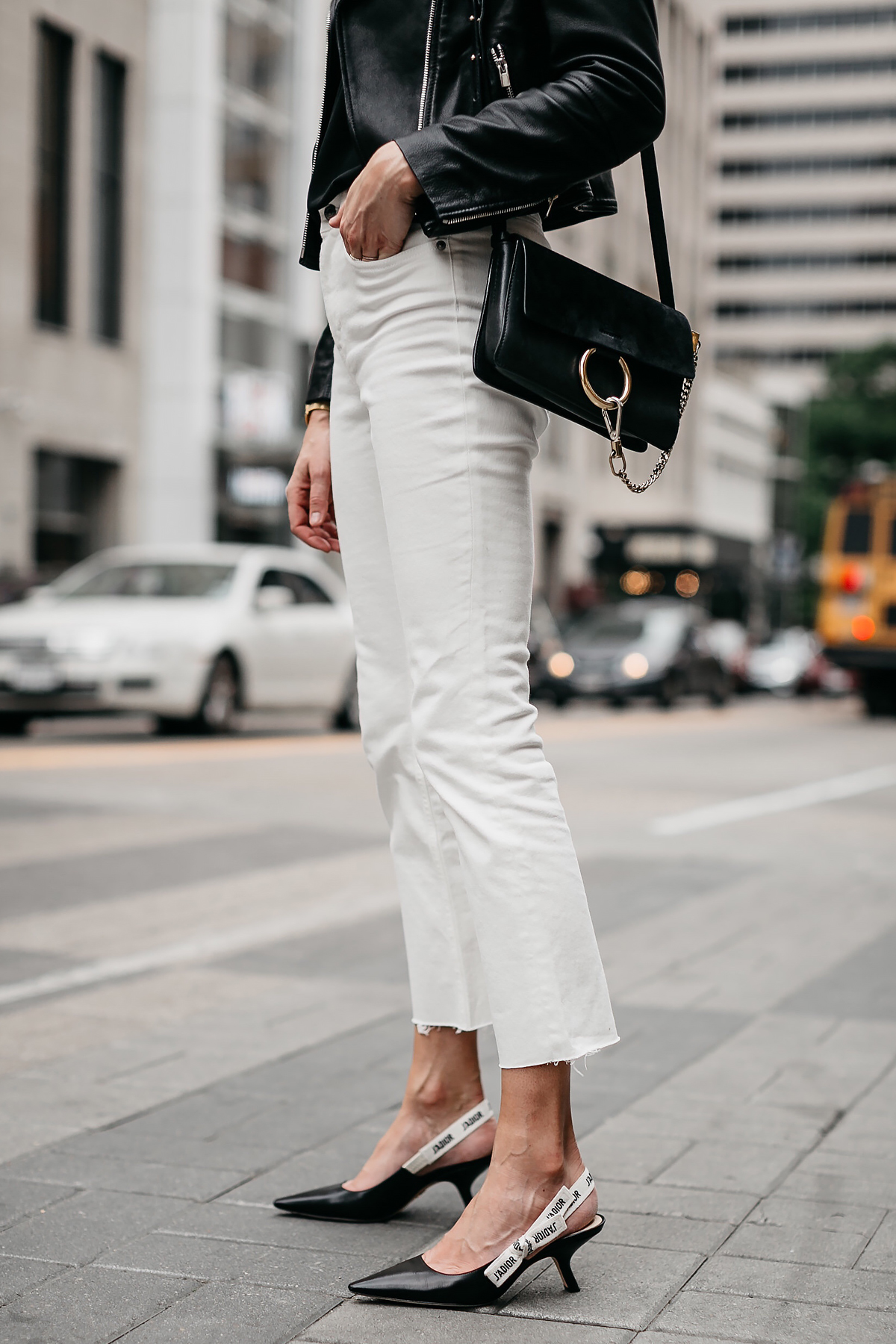 Woman Wearing Everlane White Crop Denim Dior Slingbacks Chloe Faye Black Handbag Fashion Jackson Dallas Blogger Fashion Blogger Street Style