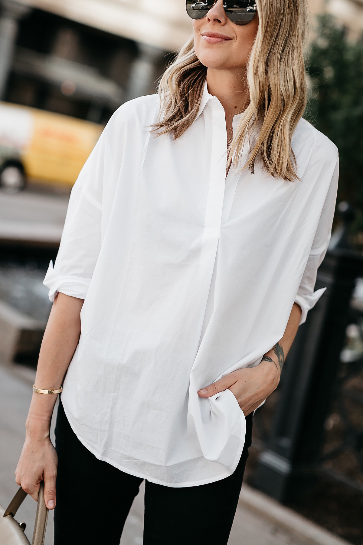 Blonde Woman Wearing French Connection Oversized White Shirt Fashion Jackson Dallas Blogger Fashion Blogger Street Style
