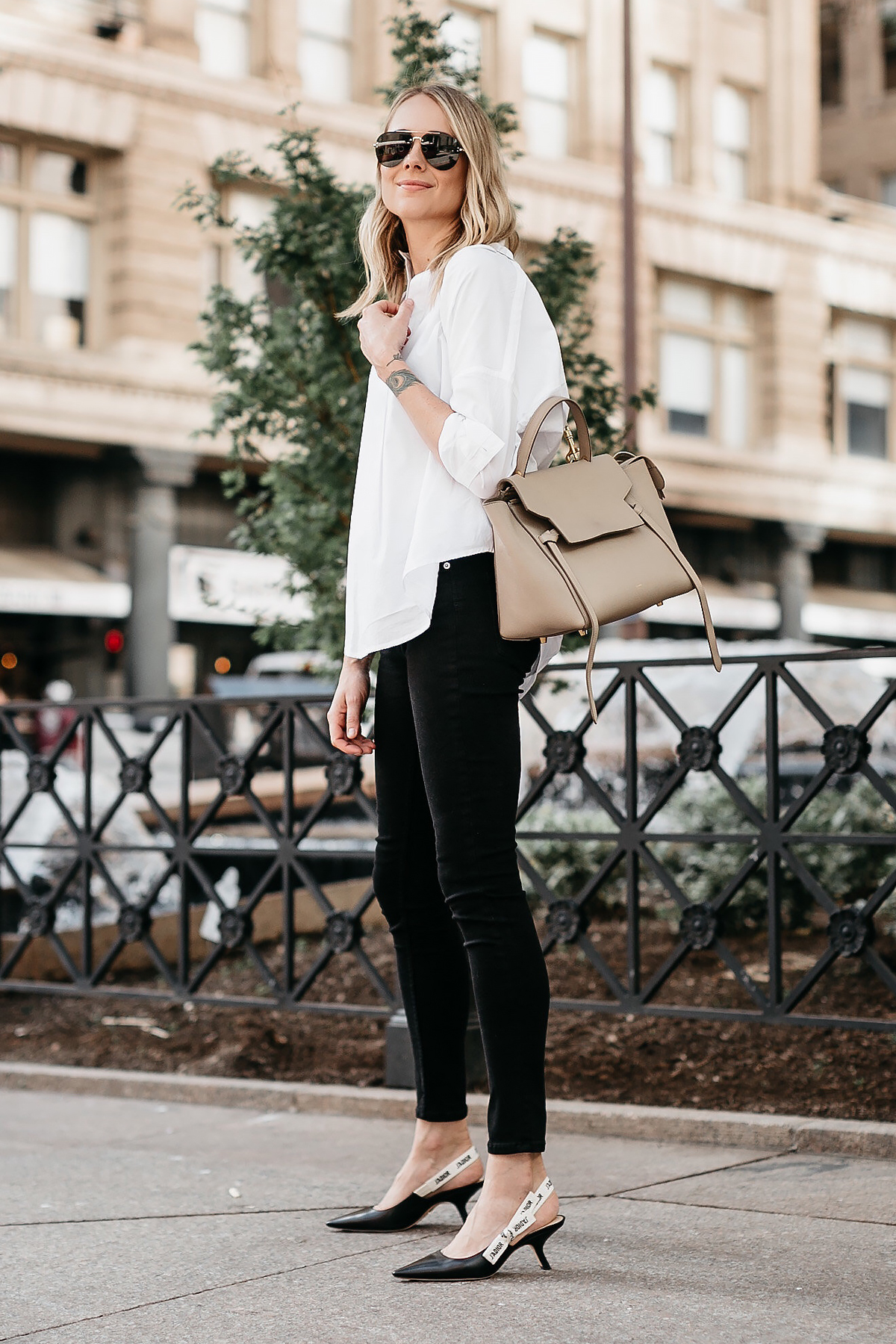 Blonde Woman Wearing French Connection White Collared Shirt Black Skinny Jeans Celine Mini Belt Bag Dior Black Slingbacks Celine Aviator Sunglasses Fashion Jackson Dallas Blogger Fashion Blogger Street Style