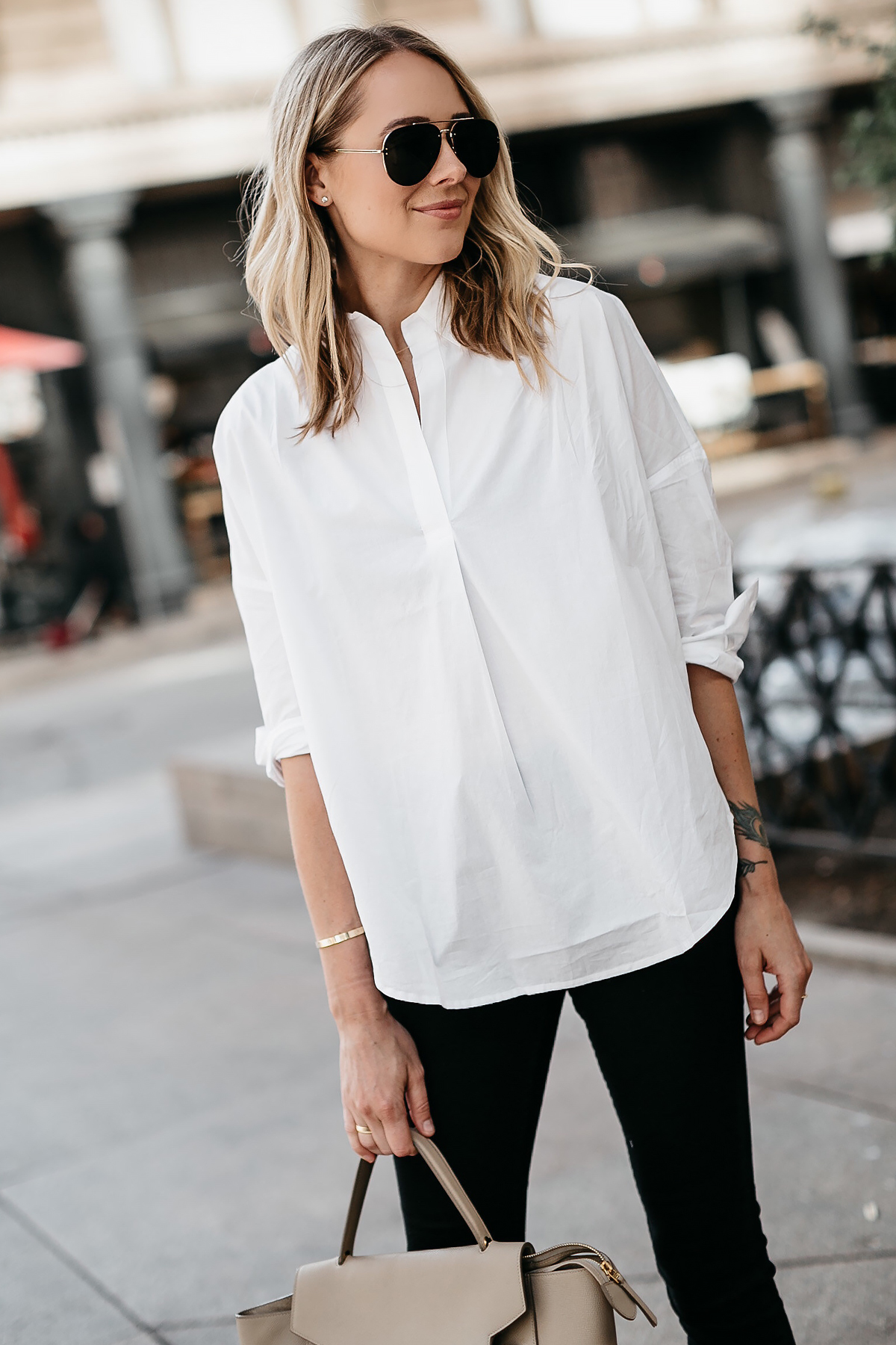 Blonde Woman Wearing French Connection White Collared Shirt Celine Aviator Sunglasses Fashion Jackson Dallas Blogger Fashion Blogger Street Style