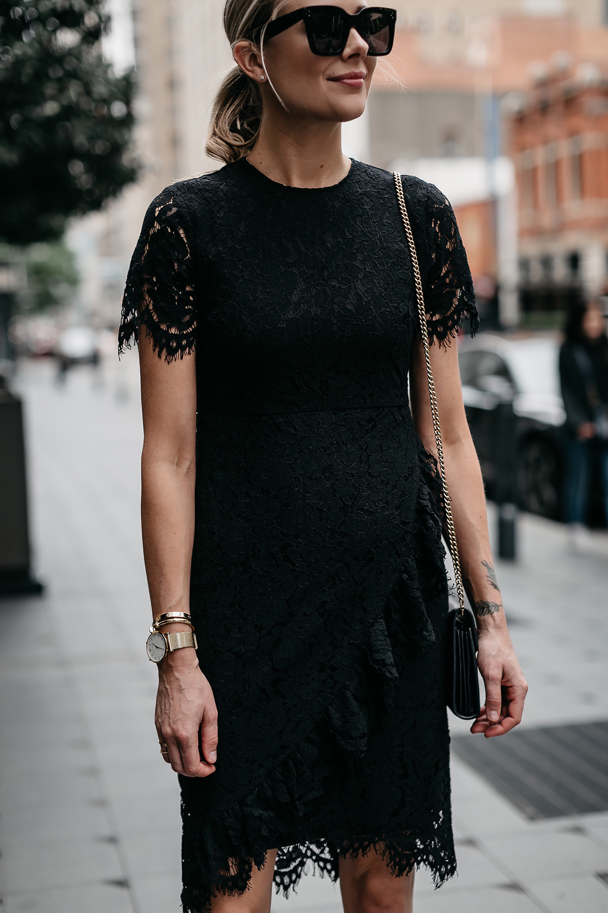 Blonde Woman Wearing Rachel Parcell Black Lace Dress Fashion Jackson Dallas Blogger Fashion Blogger Street Style