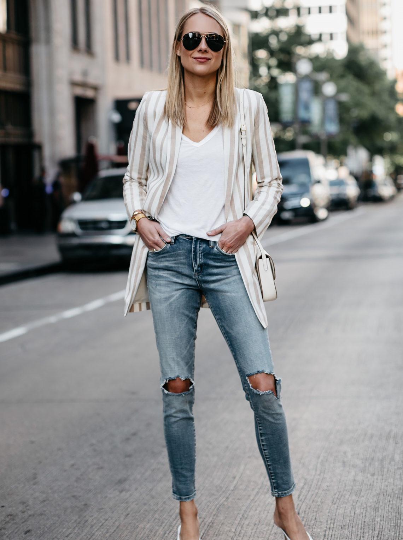 Blonde Woman Wearing Tan Striped Blazer White Tshirt Denim Ripped Jeans White Pumps Celine Aviator Sunglasses Fashion Jackson Dallas Blogger Fashion Blogger Street Style