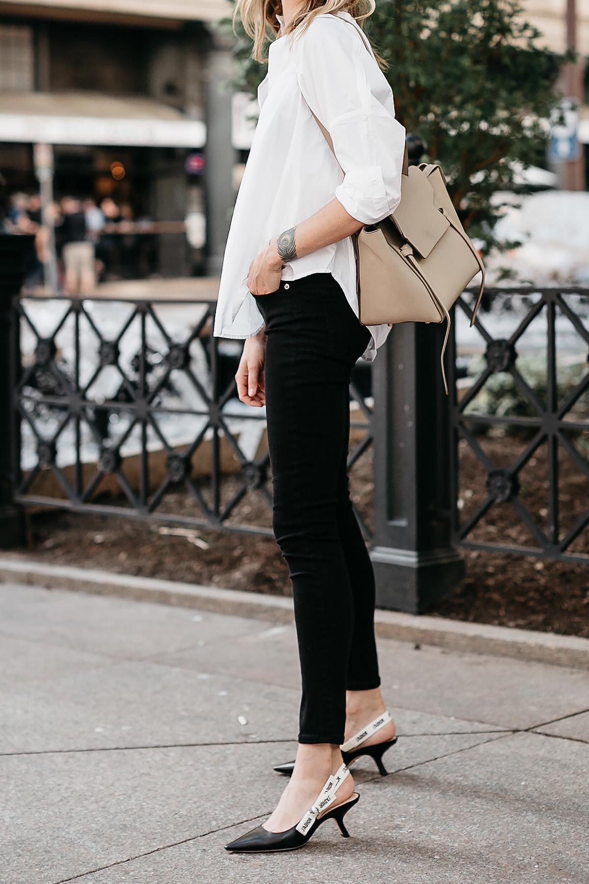 Woman Wearing White Collared Shirt Black Skinny Jeans Celine Mini Belt Bag Dior Black Slingbacks Fashion Jackson Dallas Blogger Fashion Blogger Street Style