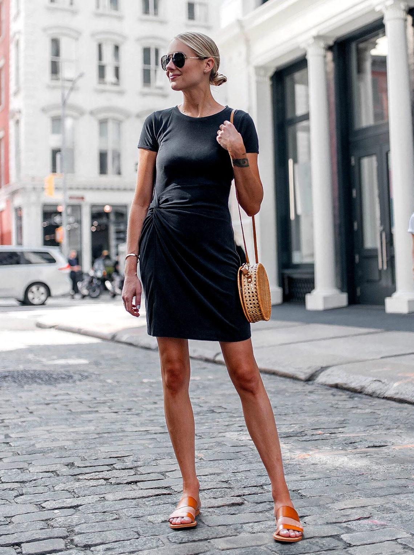 Blonde Woman Wearing Abercrombie Grey Knot Front Tee Dress Tan Slide Sandals Circle Straw Handbag Aviator Sunglasses Fashion Jackson Dallas Blogger Fashion Blogger New York Street Style