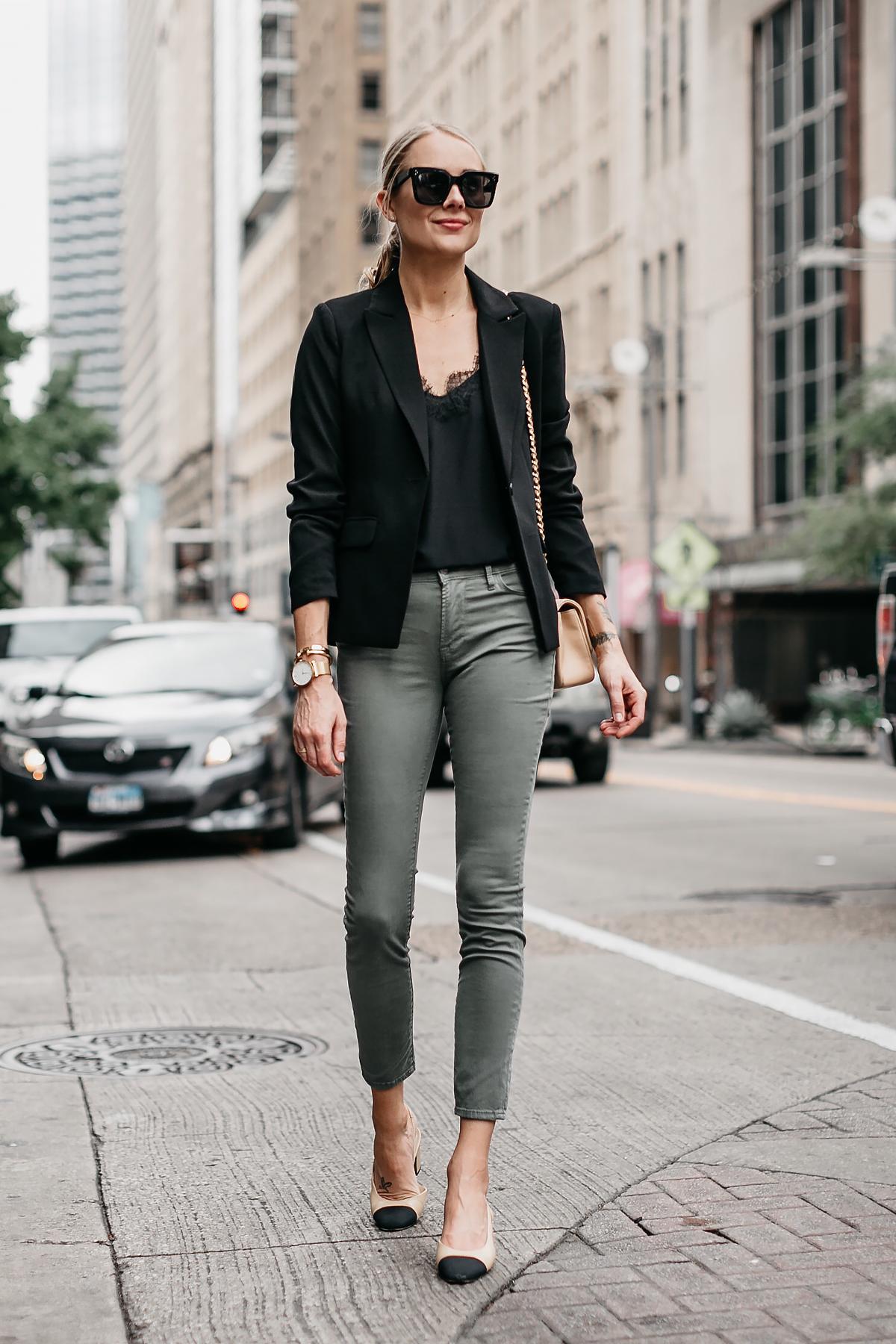 21d4bcc408 Blonde Woman Wearing Black Lace Cami Black Blazer Frame Olive Green Jeans  Chanel Slingbacks Chanel Tan