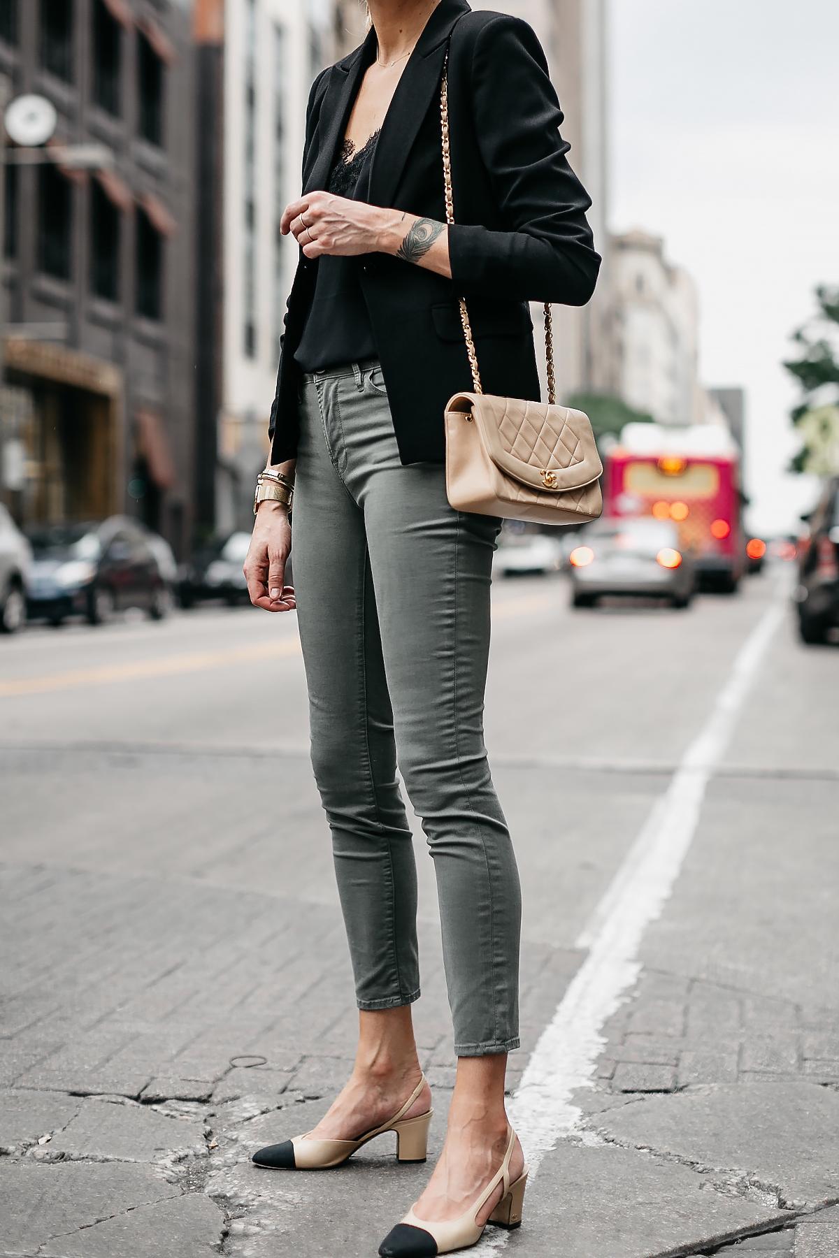 Woman Wearing Black Lace Cami Black Blazer Frame Olive Green Jeans Chanel Slingbacks Chanel Tan Handbag Fashion Jackson Dallas Blogger Fashion Blogger Street Style
