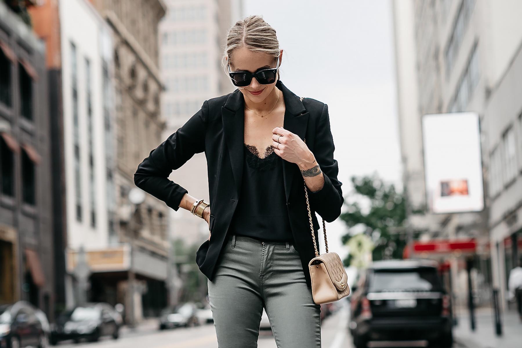 Blonde Woman Wearing Black Lace Cami Black Blazer Frame Olive Green Jeans Chanel Tan Handbag Fashion Jackson Dallas Blogger Fashion Blogger Street Style