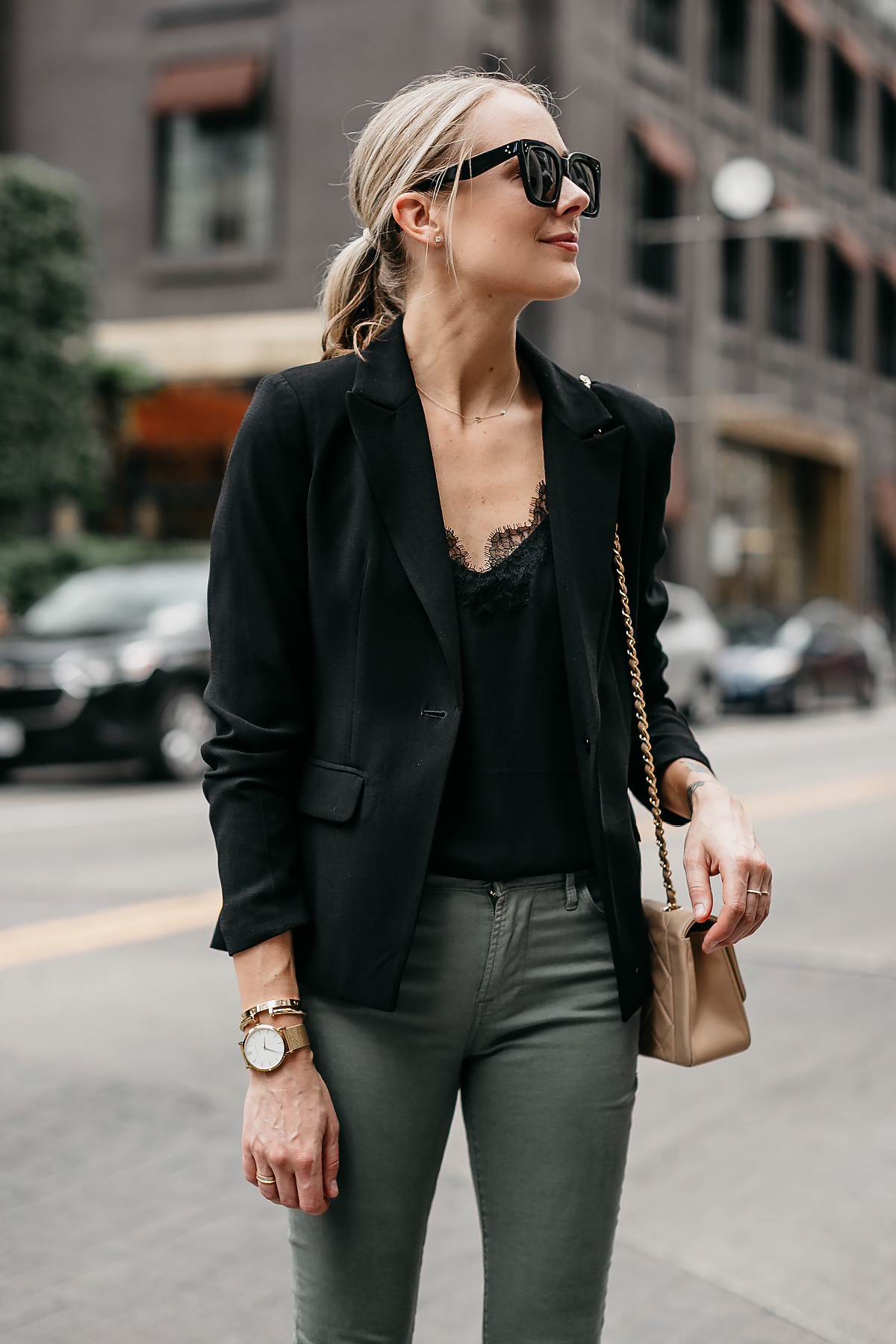 Blonde Woman Wearing Black Lace Cami Black Blazer Frame Olive Green Jeans Fashion Jackson Dallas Blogger Fashion Blogger Street Style