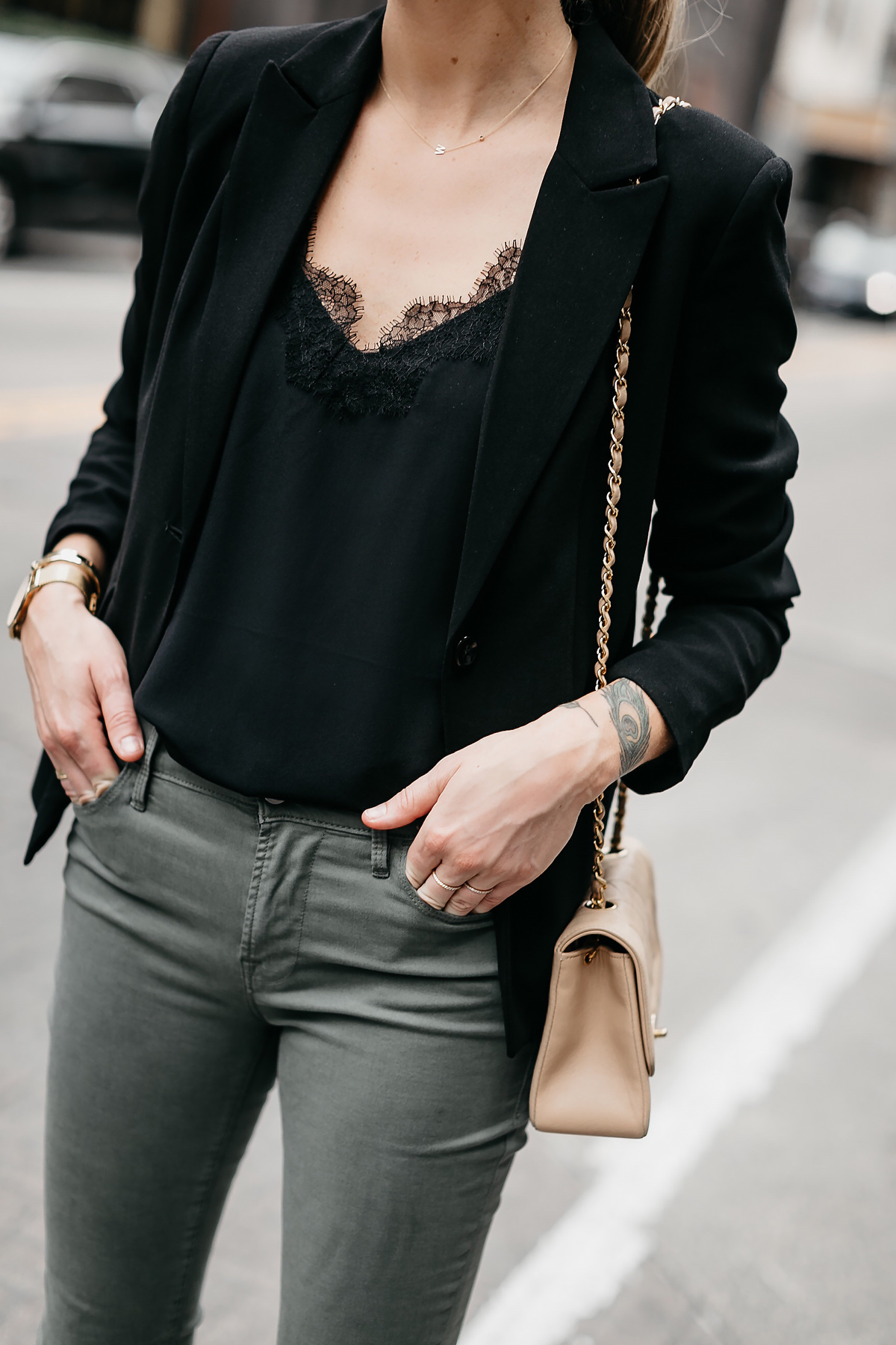 Woman Wearing Black Lace Cami Black Blazer Olive Green Jeans Fashion Jackson Dallas Blogger Fashion Blogger Street Style