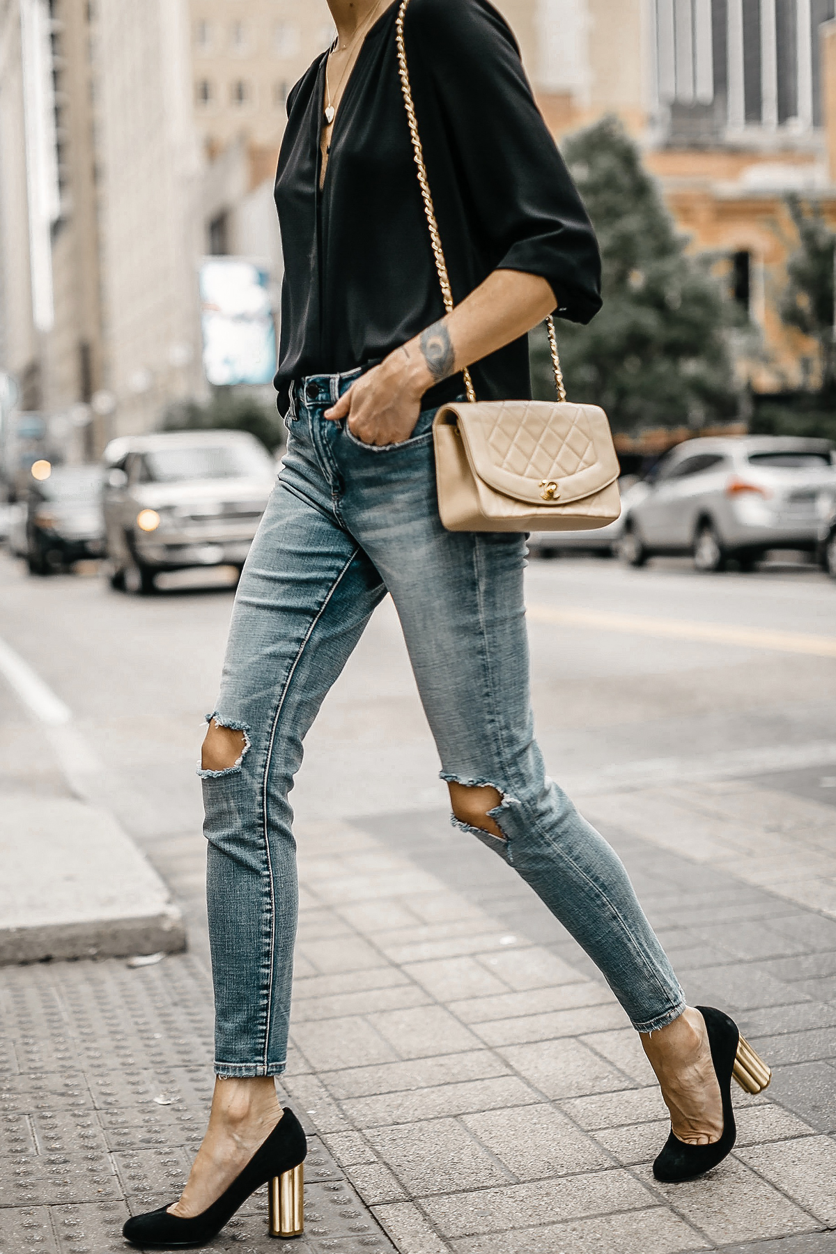 Woman Wearing Black Top Blanknyc Ripped Denim Skinny Jeans Salvatore Ferragamo Black Pumps Tan Chanel Quilted Handbag Fashion Jackson Dallas Blogger Fashion Blogger Street Style
