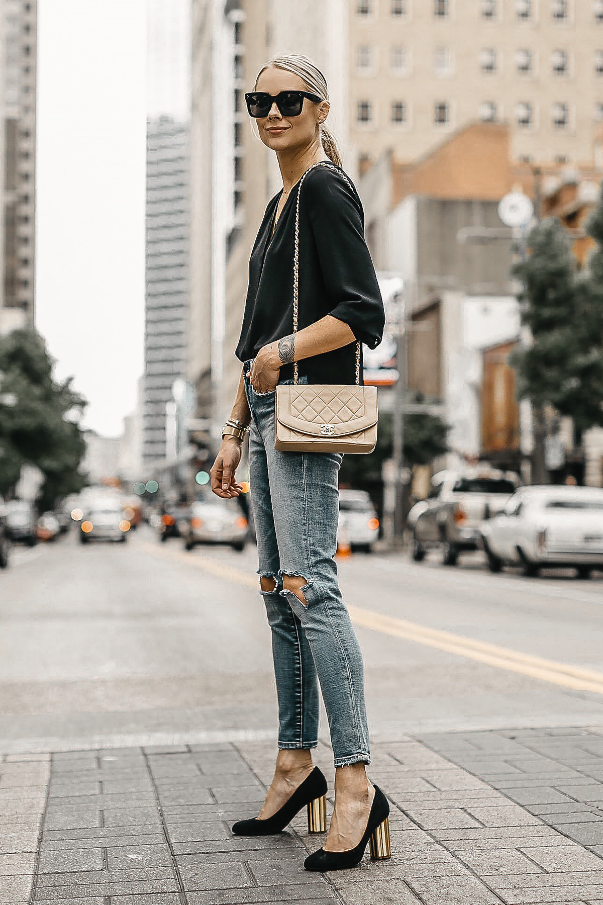 Blonde Woman Wearing Black Top Blanknyc Ripped Denim Skinny Jeans Salvatore Ferragamo Black Pumps Tan Chanel Quilted Handbag Fashion Jackson Dallas Blogger Fashion Blogger Street Style