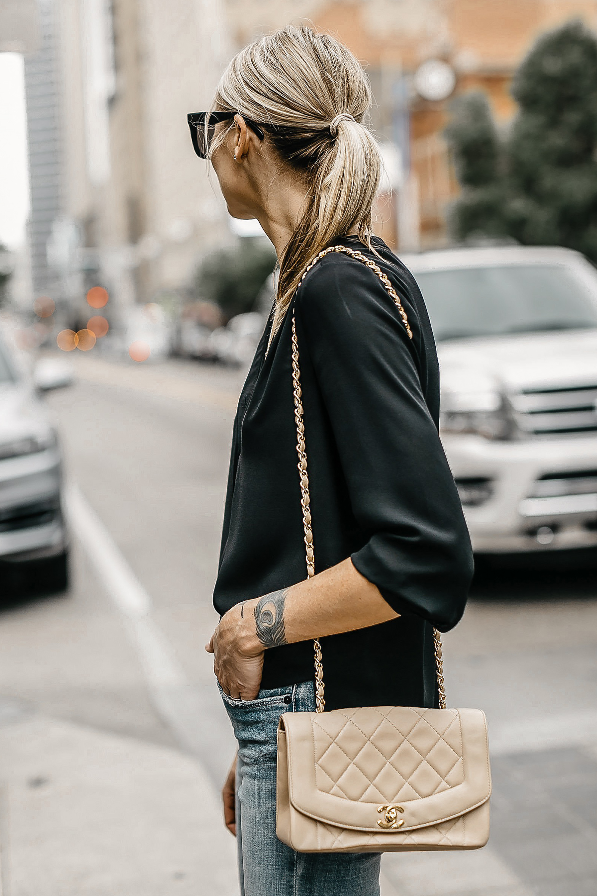Blonde Woman Wearing Black Top Tan Chanel Quilted Handbag Fashion Jackson Dallas Blogger Fashion Blogger Street Style