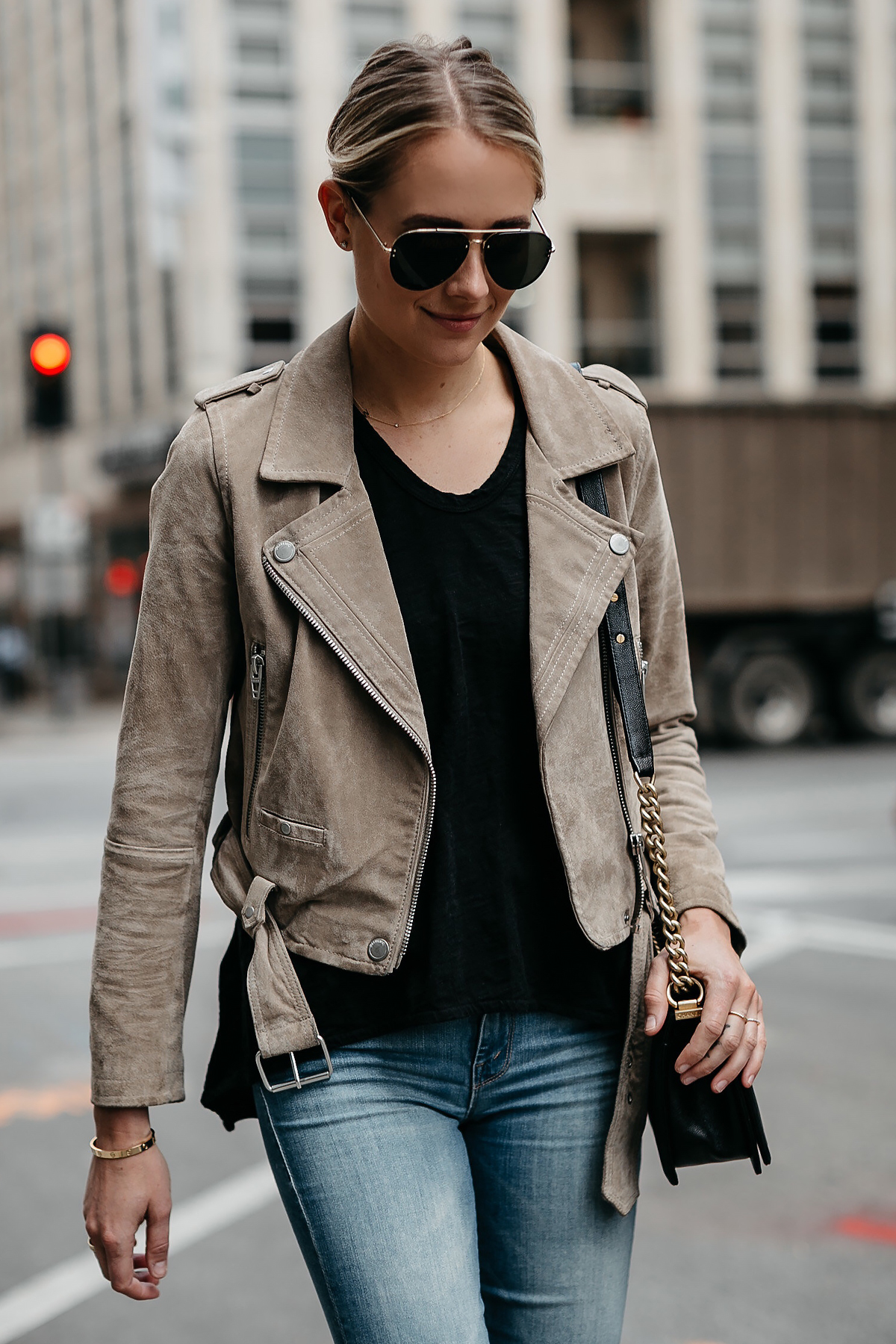 Blonde Woman Wearing Blanknyc Tan Suede Moto Jacket Black Tshirt Aviator Sunglasses Fashion Jackson Dallas Blogger Fashion Blogger Street Style